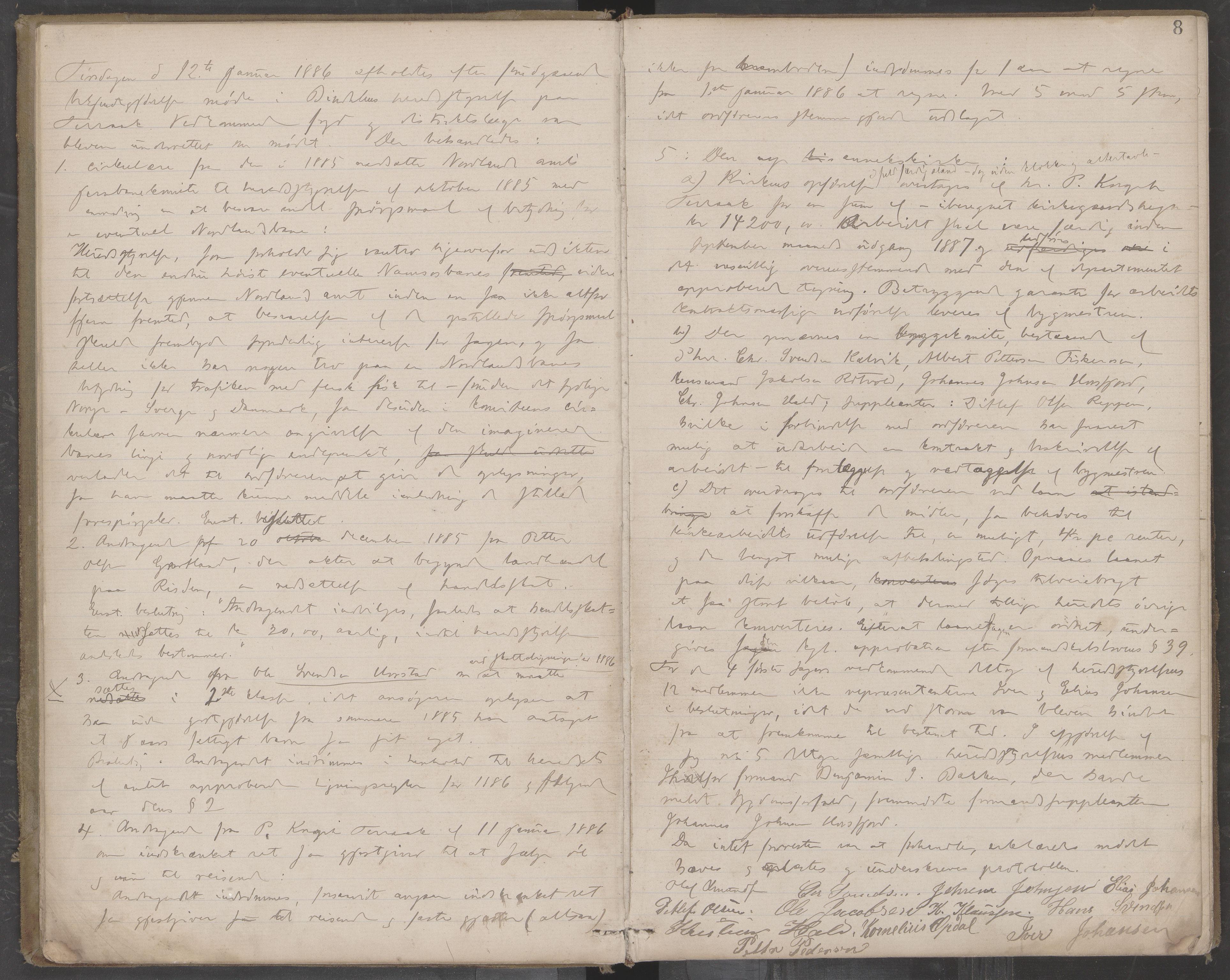 AIN, Bindal kommune. Formannskapet, A/Aa/L0000c: Møtebok, 1885-1897, s. 8