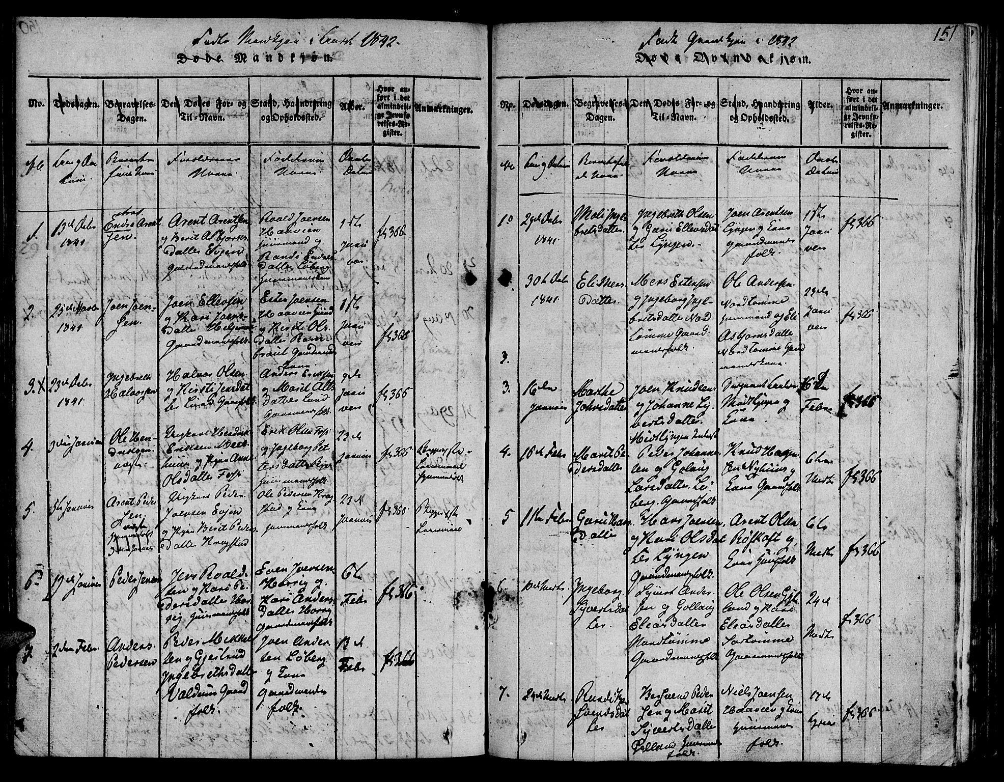 SAT, Ministerialprotokoller, klokkerbøker og fødselsregistre - Sør-Trøndelag, 692/L1102: Ministerialbok nr. 692A02, 1816-1842, s. 151