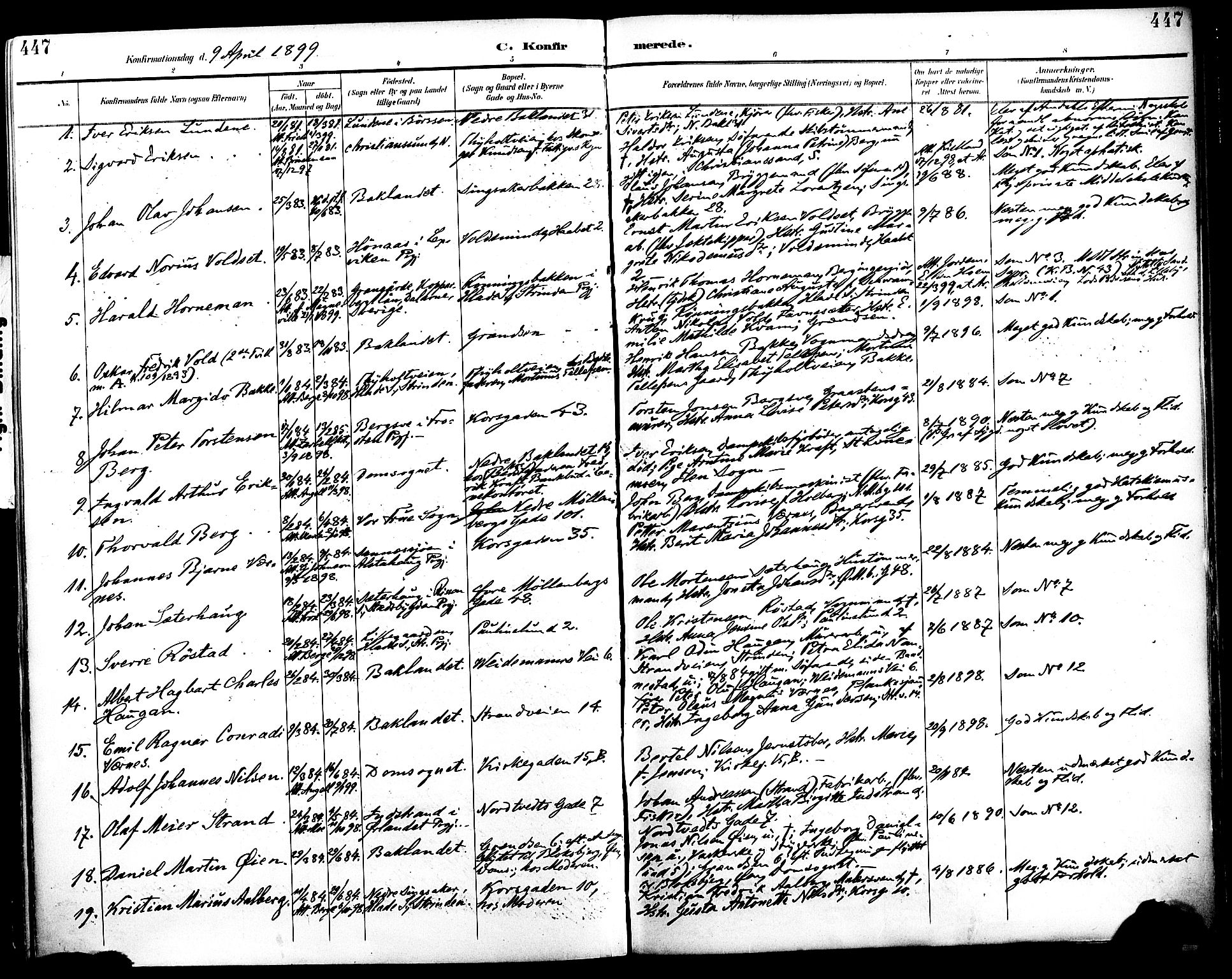 SAT, Ministerialprotokoller, klokkerbøker og fødselsregistre - Sør-Trøndelag, 604/L0197: Ministerialbok nr. 604A18, 1893-1900, s. 447