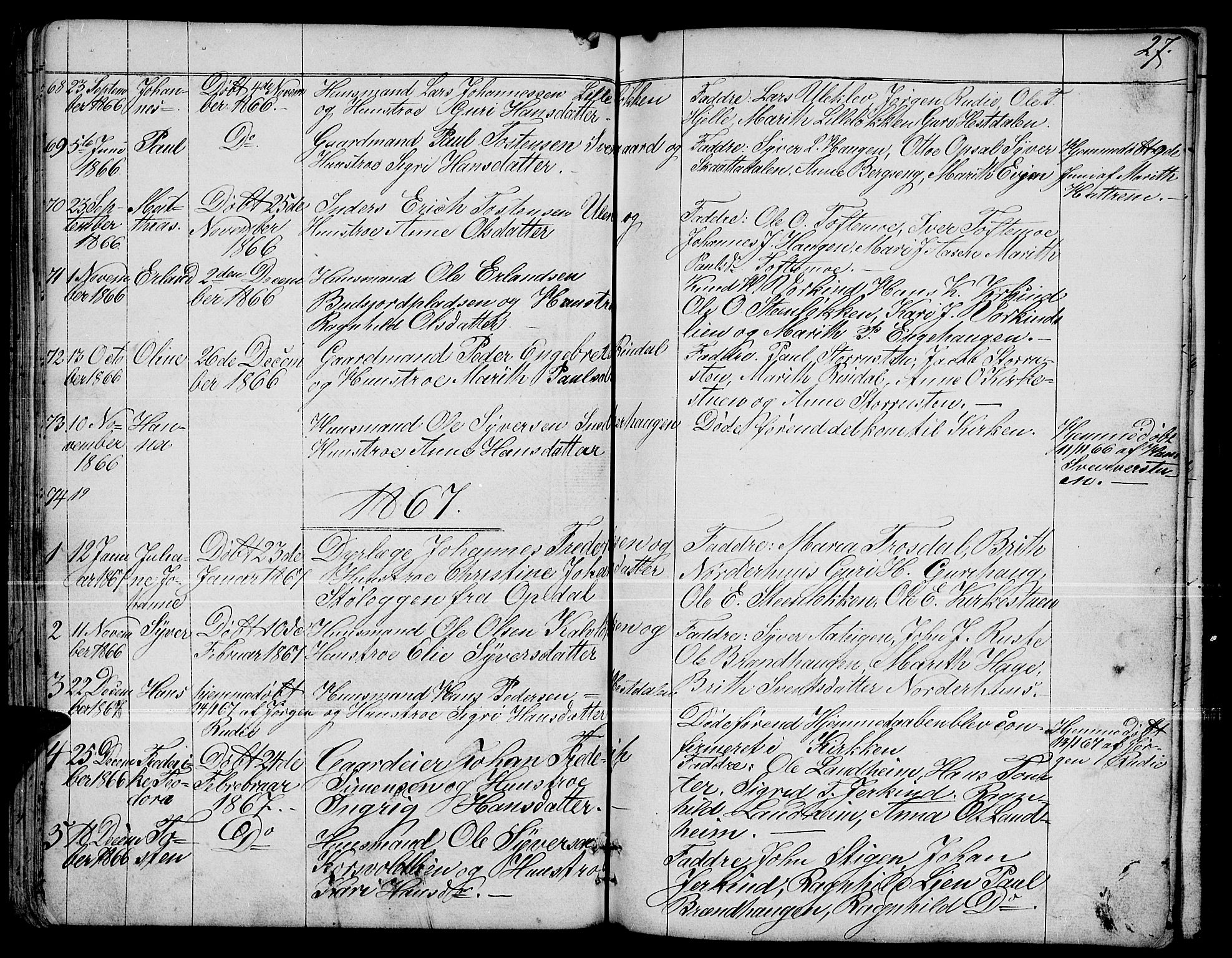 SAH, Dovre prestekontor, Klokkerbok nr. 1, 1862-1880, s. 27