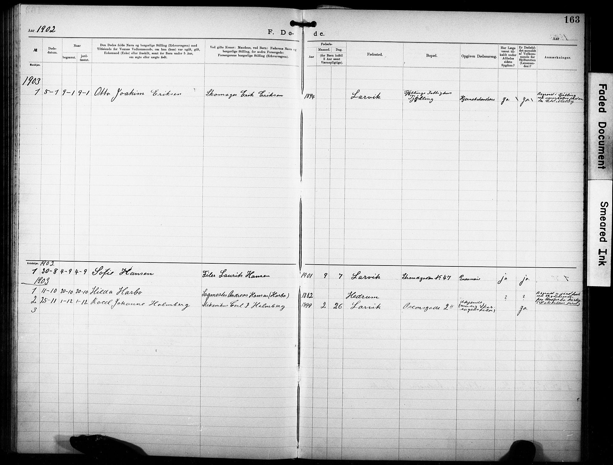 SAKO, Den katolsk-apostoliske menighet i Larvik, F/Fa/L0001: Dissenterprotokoll nr. 1, 1892-1933, s. 163