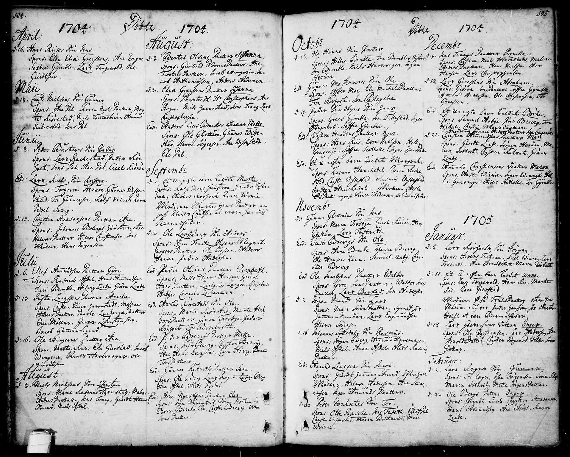 SAKO, Bamble kirkebøker, F/Fa/L0001: Ministerialbok nr. I 1, 1702-1774, s. 104-105