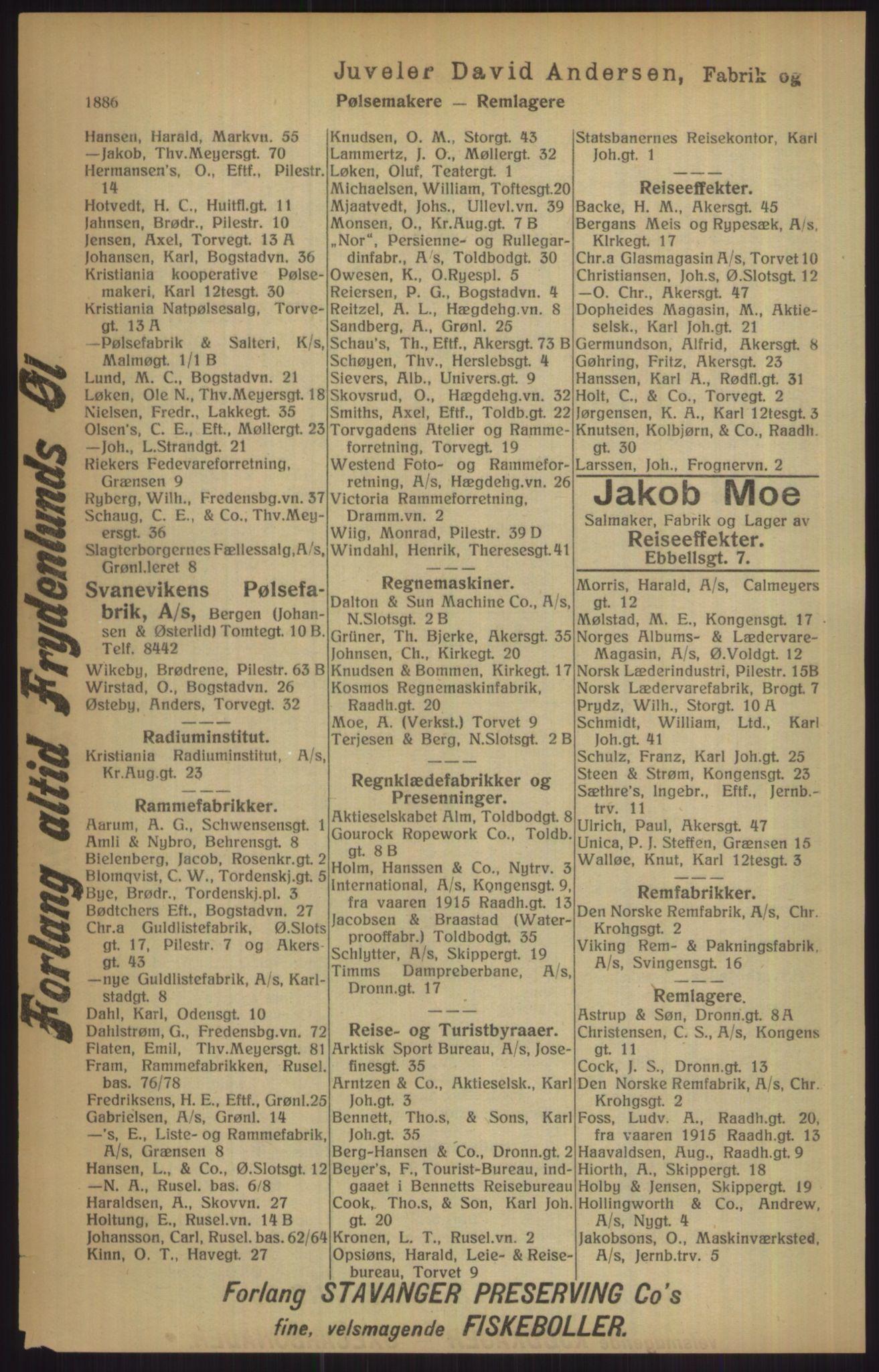 RA, Kristiania adressebok (publikasjon)*, 1915, s. 1886