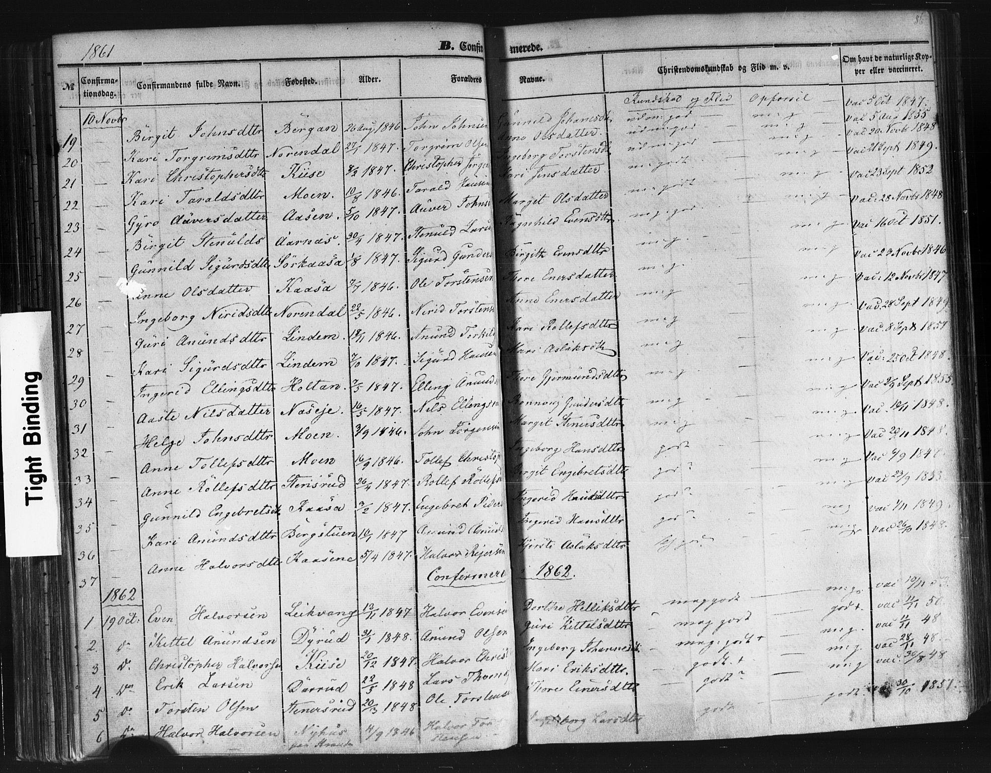 SAKO, Sauherad kirkebøker, F/Fb/L0001: Ministerialbok nr. II 1, 1851-1877, s. 86