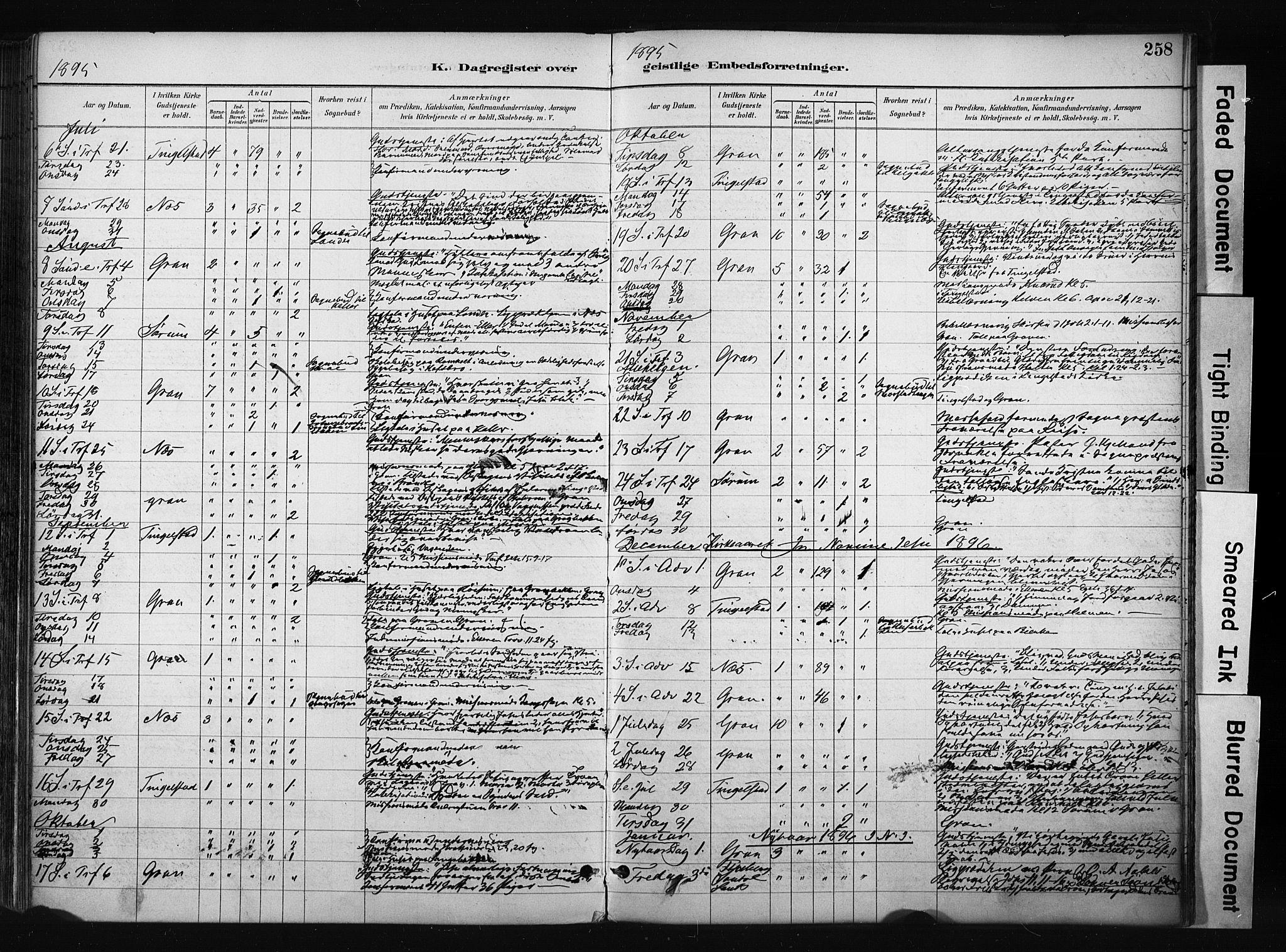SAH, Gran prestekontor, Ministerialbok nr. 17, 1889-1897, s. 258