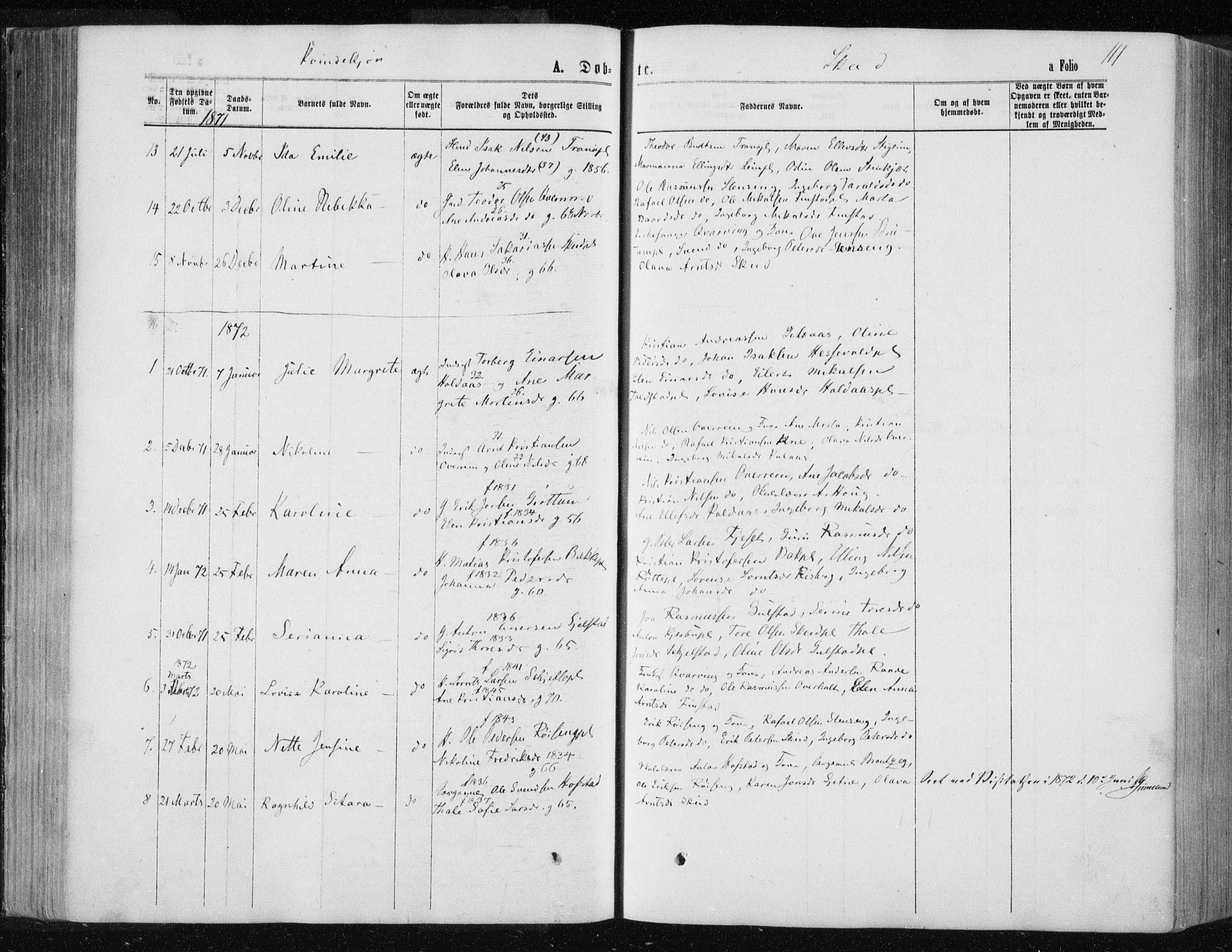 SAT, Ministerialprotokoller, klokkerbøker og fødselsregistre - Nord-Trøndelag, 735/L0345: Ministerialbok nr. 735A08 /2, 1863-1872, s. 111