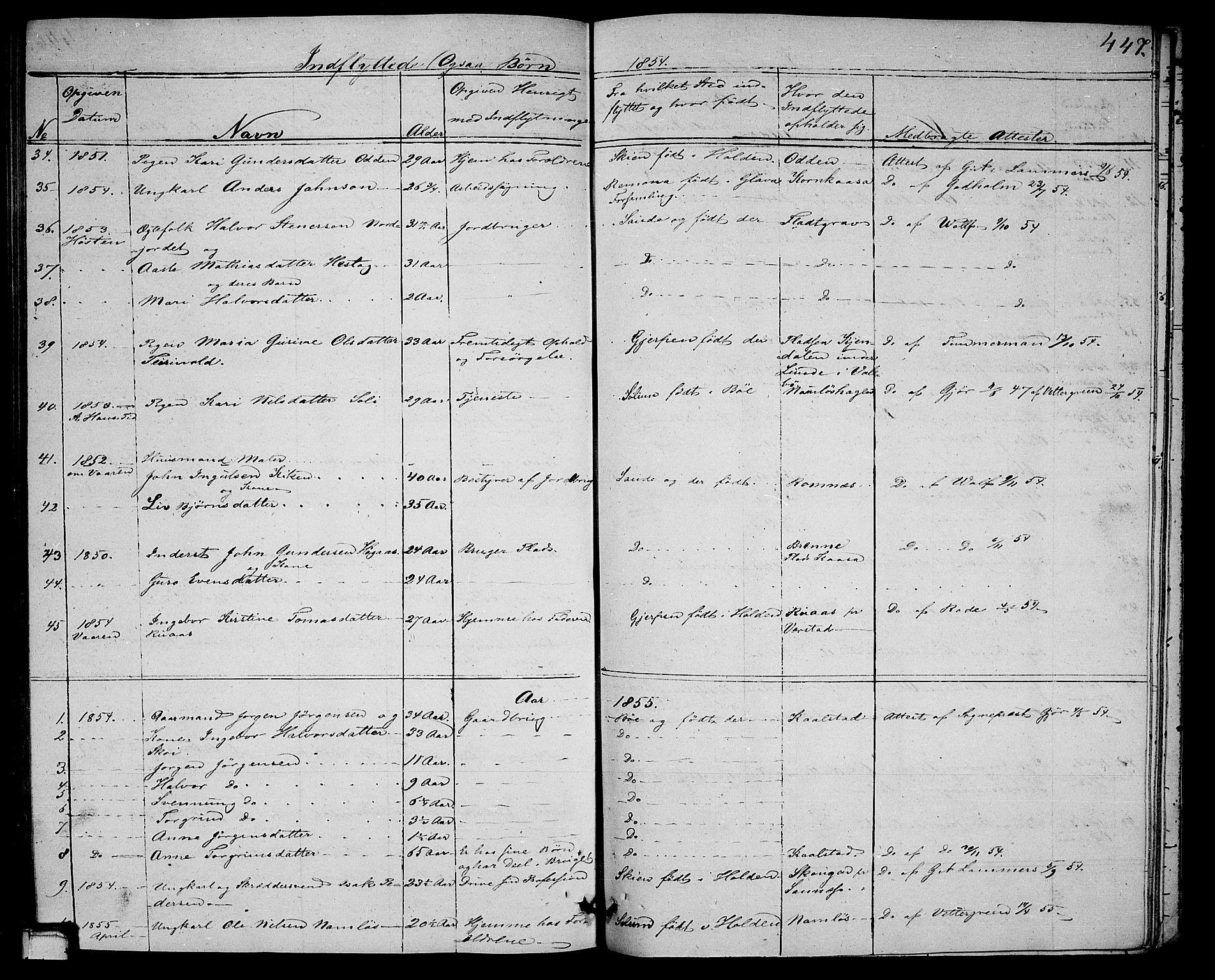 SAKO, Holla kirkebøker, G/Ga/L0003: Klokkerbok nr. I 3, 1849-1866, s. 447