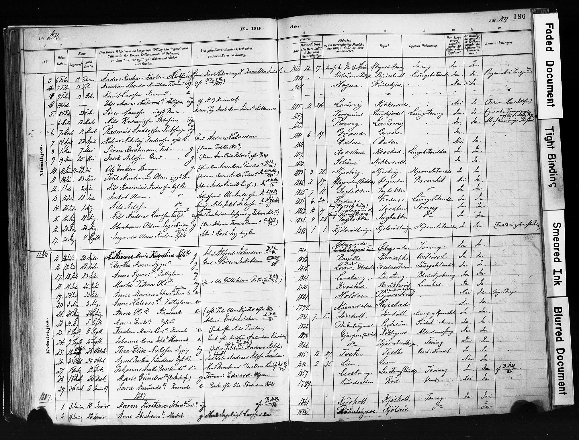 SAKO, Eidanger kirkebøker, F/Fa/L0012: Ministerialbok nr. 12, 1879-1900, s. 186