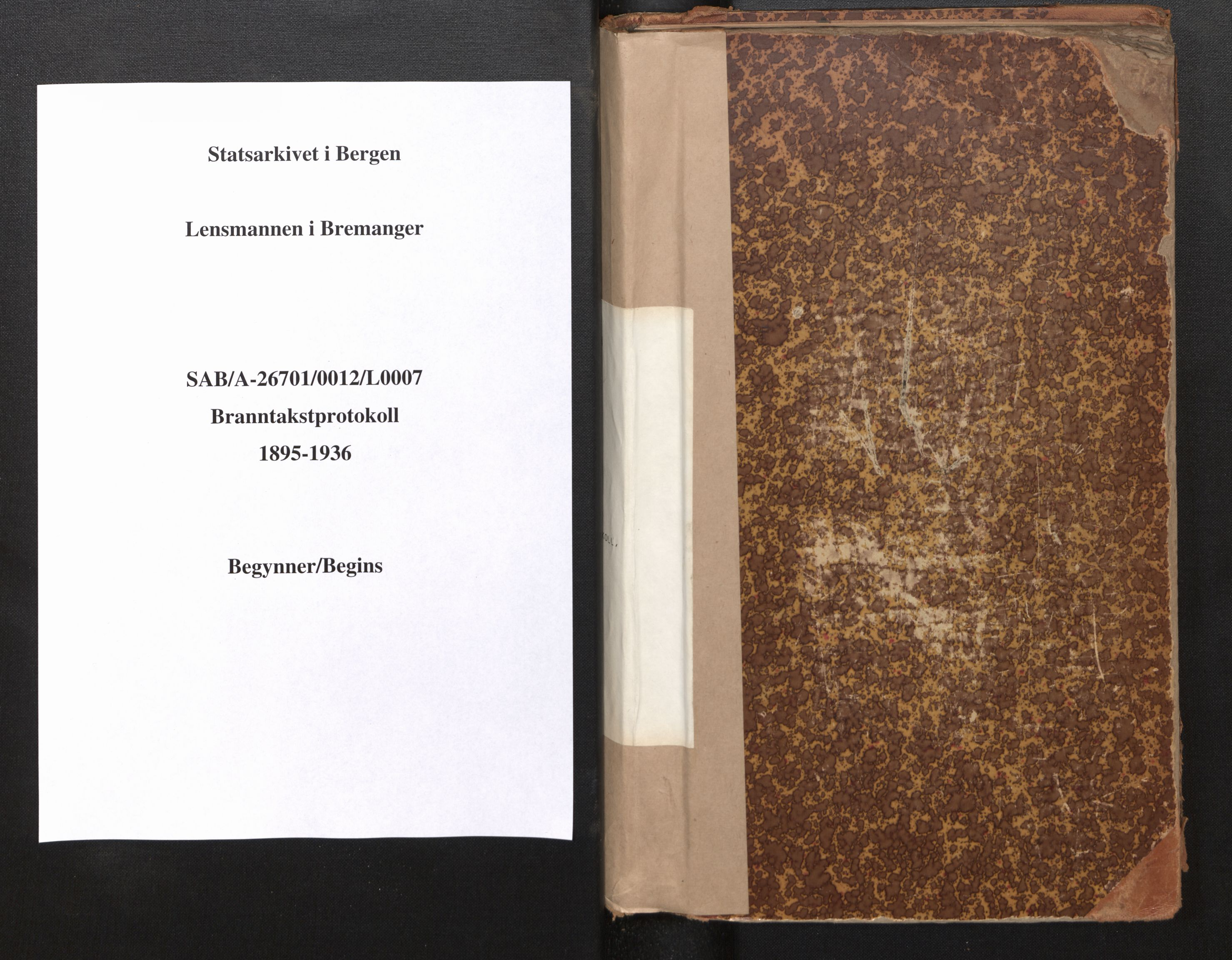 SAB, Lensmannen i Bremanger, 0012/L0007: Branntakstprotokoll, skjematakst, 1895-1936