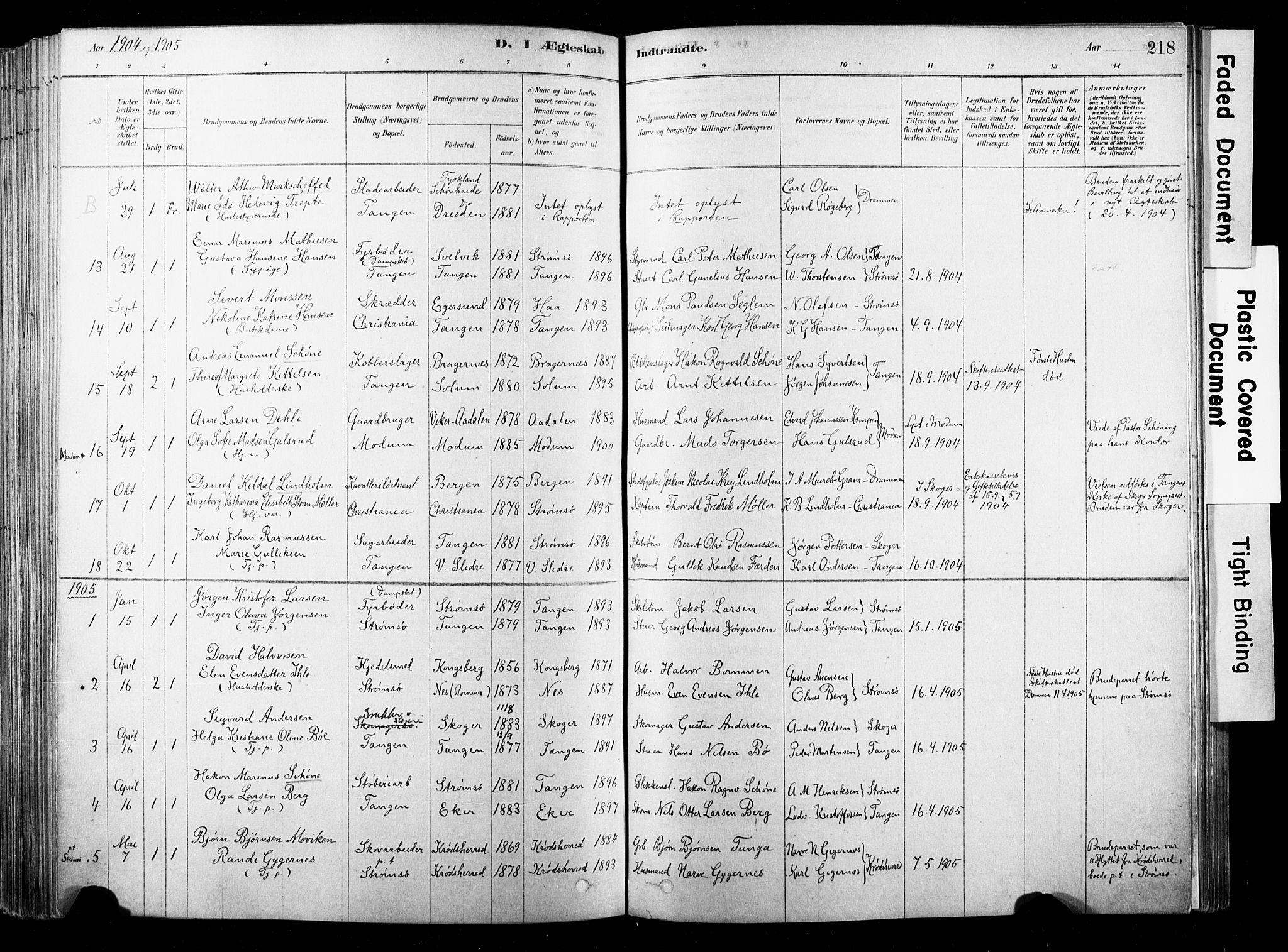 SAKO, Strømsø kirkebøker, F/Fb/L0006: Ministerialbok nr. II 6, 1879-1910, s. 218