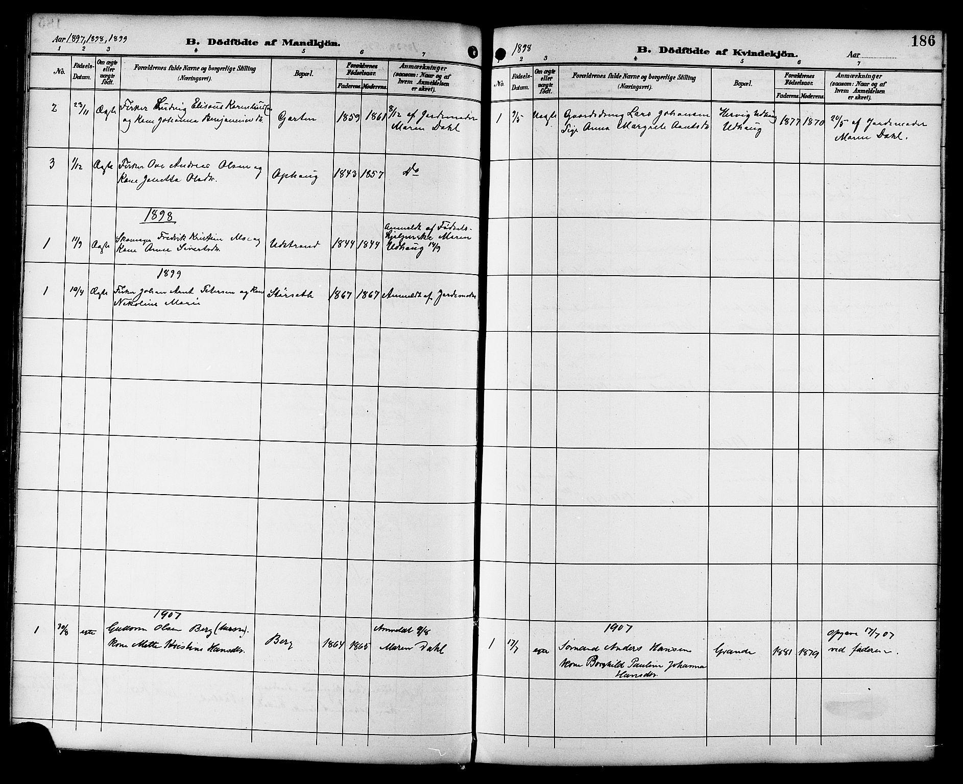 SAT, Ministerialprotokoller, klokkerbøker og fødselsregistre - Sør-Trøndelag, 659/L0746: Klokkerbok nr. 659C03, 1893-1912, s. 186