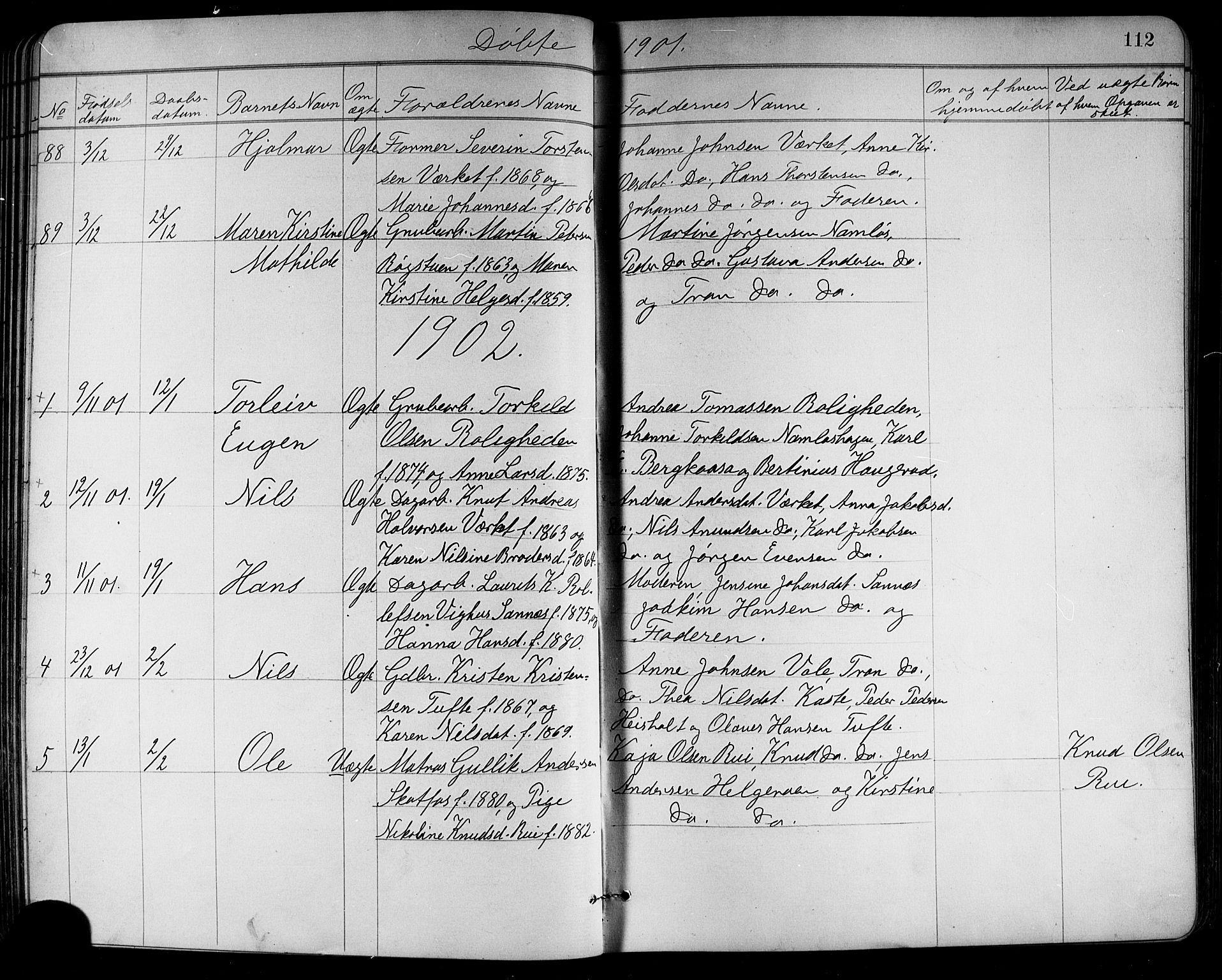 SAKO, Holla kirkebøker, G/Ga/L0005: Klokkerbok nr. I 5, 1891-1917, s. 112