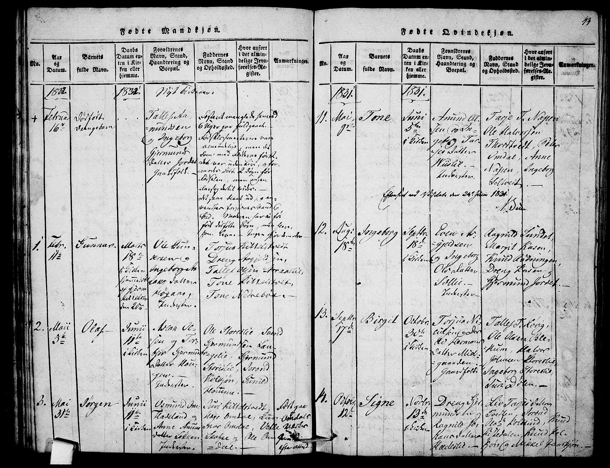 SAKO, Mo kirkebøker, F/Fb/L0001: Ministerialbok nr. II 1, 1814-1844, s. 43
