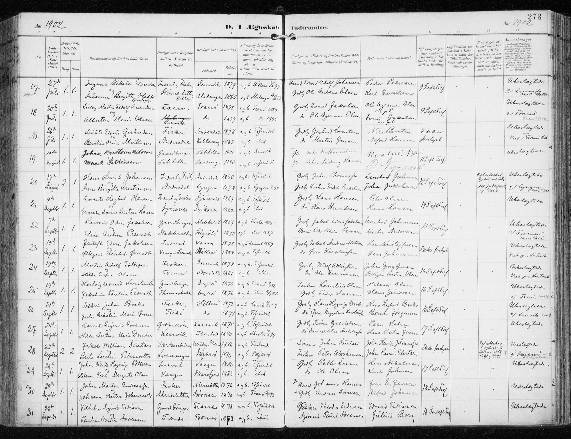 SATØ, Tromsøysund sokneprestkontor, G/Ga/L0006kirke: Ministerialbok nr. 6, 1897-1906, s. 273