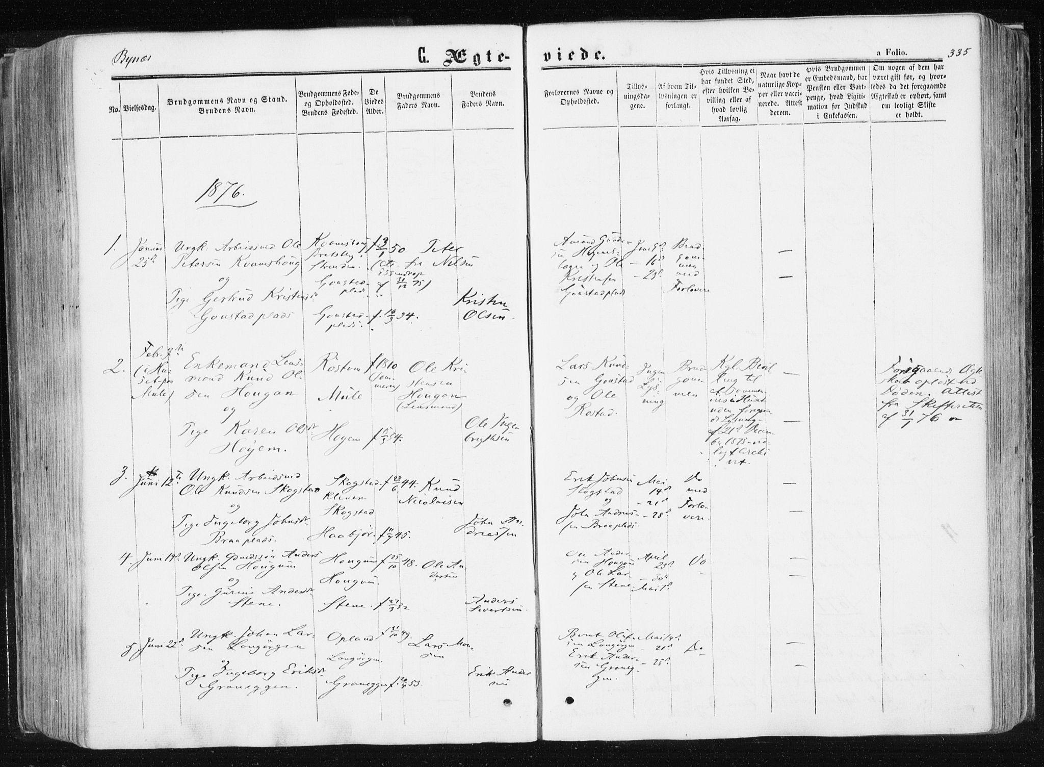 SAT, Ministerialprotokoller, klokkerbøker og fødselsregistre - Sør-Trøndelag, 612/L0377: Ministerialbok nr. 612A09, 1859-1877, s. 335