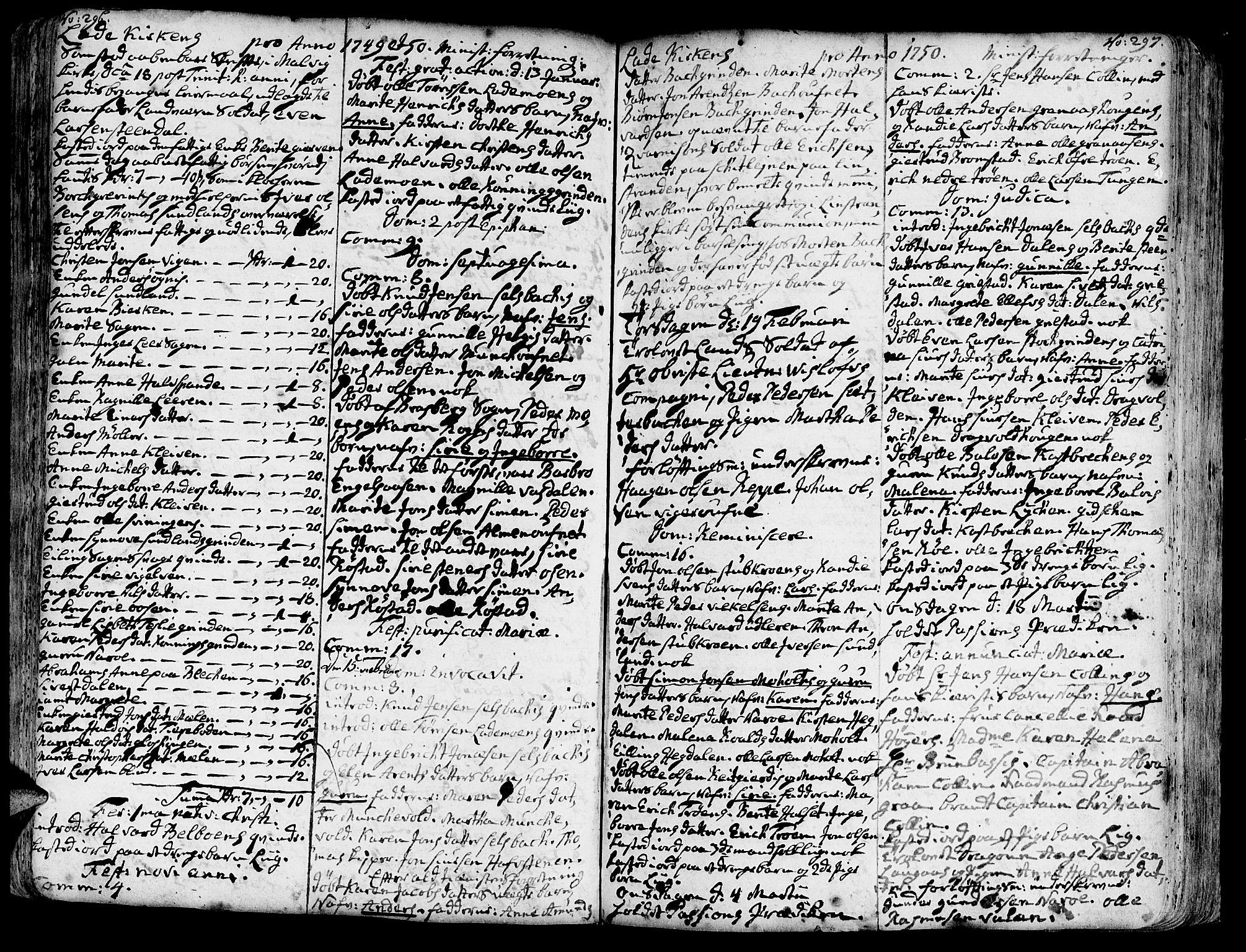 SAT, Ministerialprotokoller, klokkerbøker og fødselsregistre - Sør-Trøndelag, 606/L0275: Ministerialbok nr. 606A01 /1, 1727-1780, s. 296-297