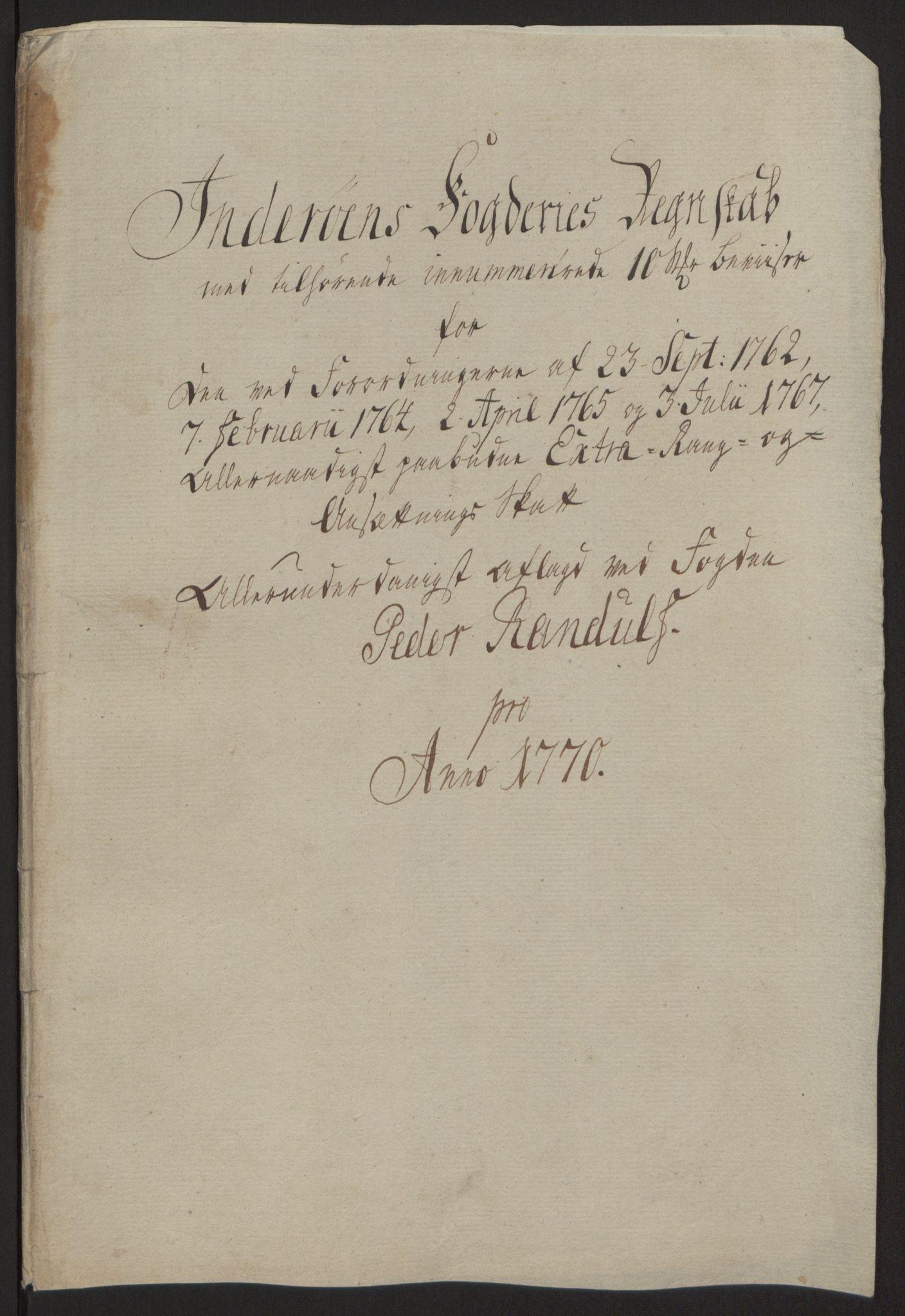 RA, Rentekammeret inntil 1814, Reviderte regnskaper, Fogderegnskap, R63/L4420: Ekstraskatten Inderøy, 1762-1772, s. 377