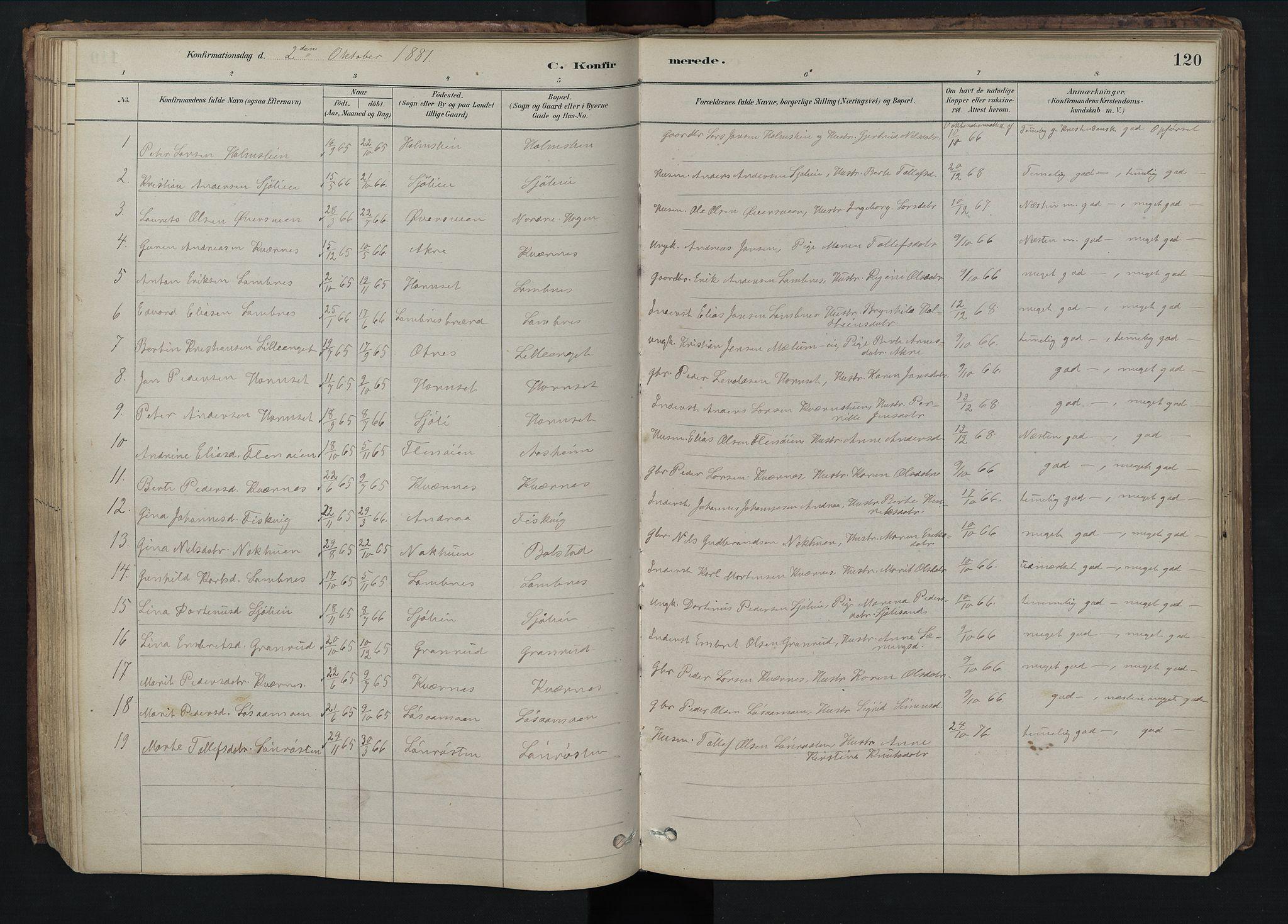 SAH, Rendalen prestekontor, H/Ha/Hab/L0009: Klokkerbok nr. 9, 1879-1902, s. 120