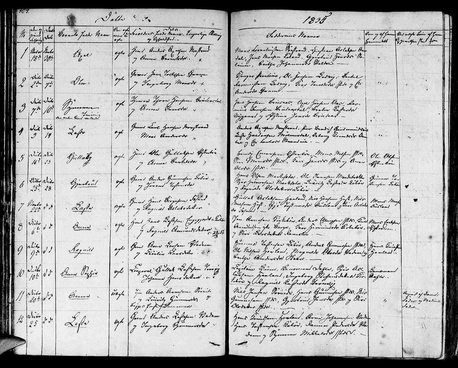 SAB, Lavik sokneprestembete, Ministerialbok nr. A 2I, 1821-1842, s. 107