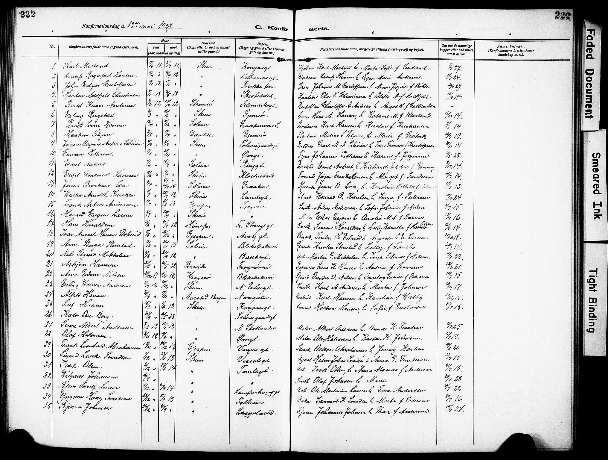 SAKO, Skien kirkebøker, G/Ga/L0010: Klokkerbok nr. 10, 1920-1931, s. 222