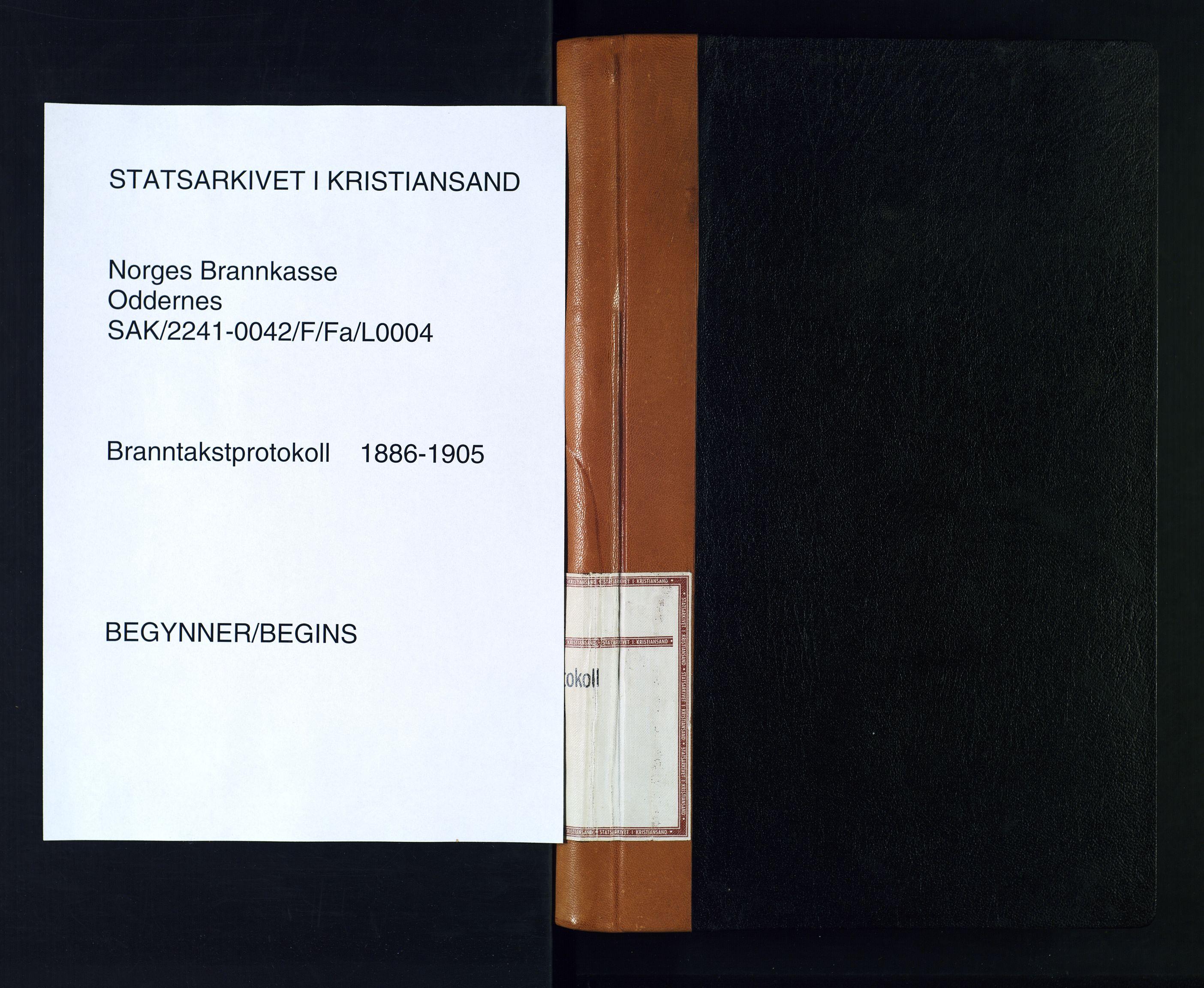 SAK, Norges Brannkasse Oddernes, F/Fa/L0004: Branntakstprotokoll nr. 4 med gårdsnavnregister, 1886-1905