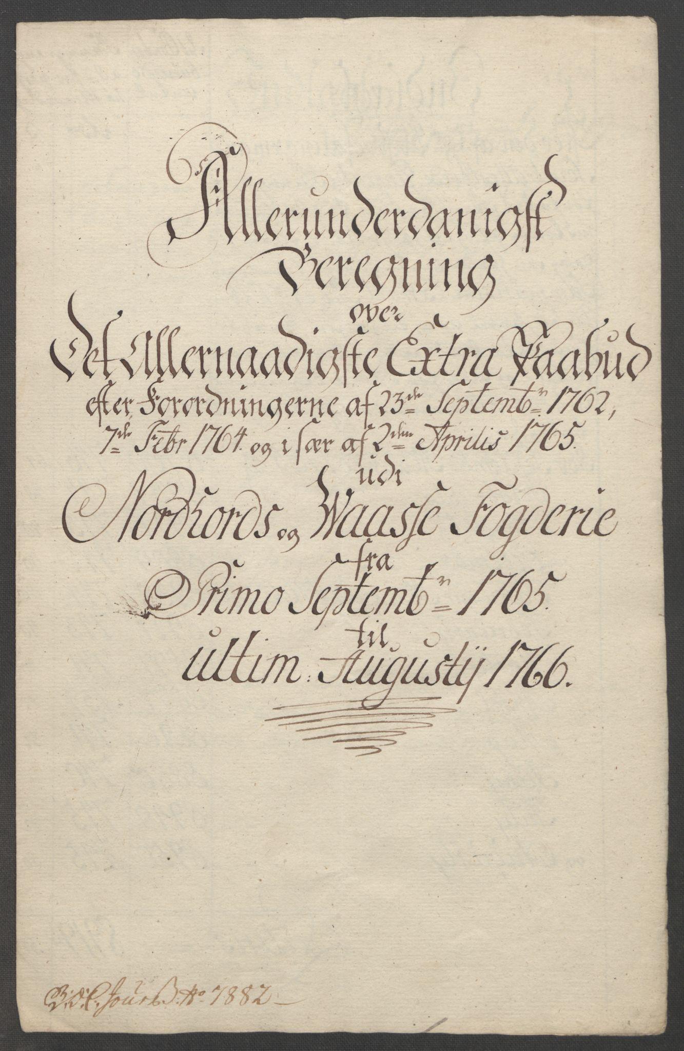 RA, Rentekammeret inntil 1814, Reviderte regnskaper, Fogderegnskap, R51/L3303: Ekstraskatten Nordhordland og Voss, 1762-1772, s. 125