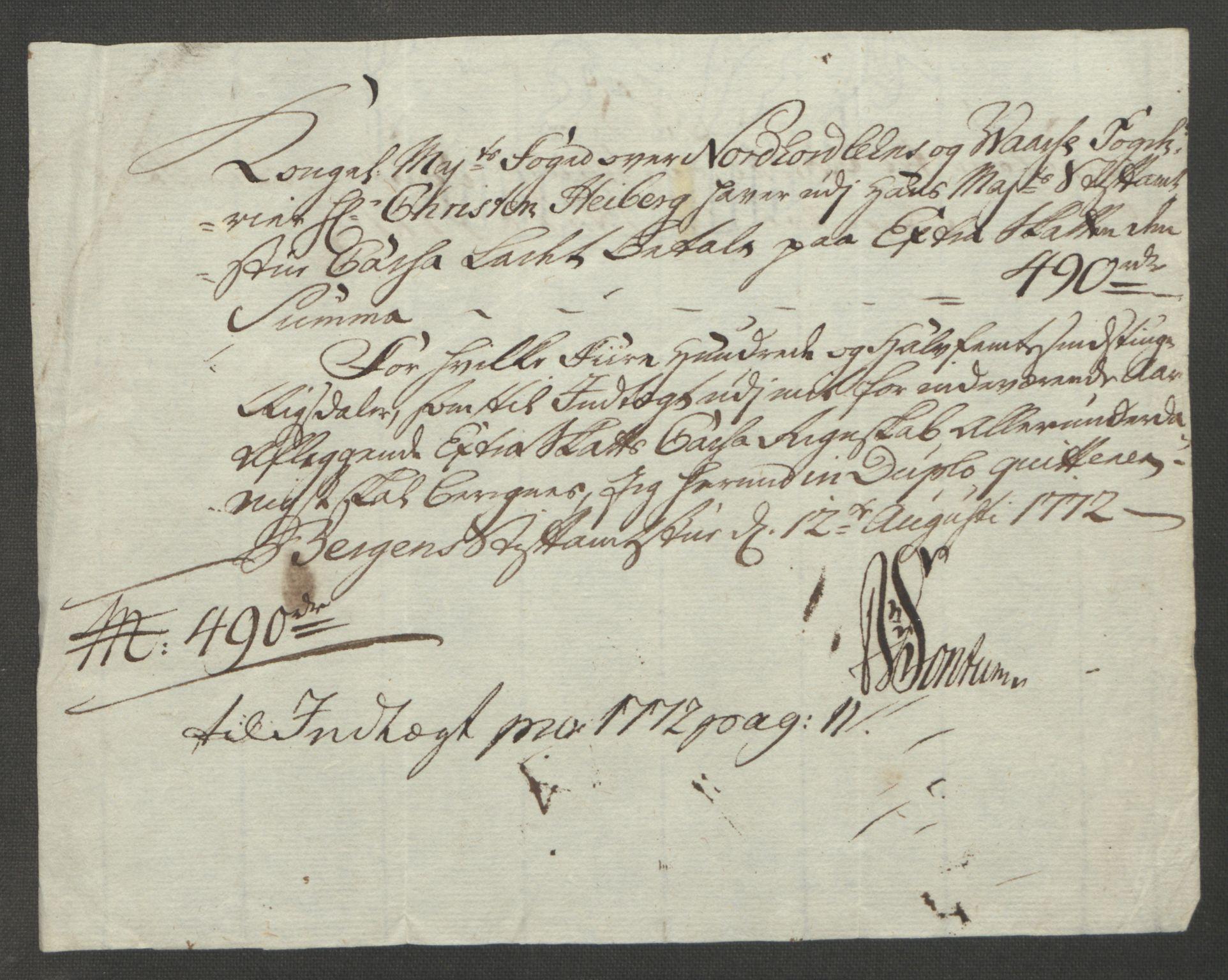 RA, Rentekammeret inntil 1814, Reviderte regnskaper, Fogderegnskap, R51/L3303: Ekstraskatten Nordhordland og Voss, 1762-1772, s. 614