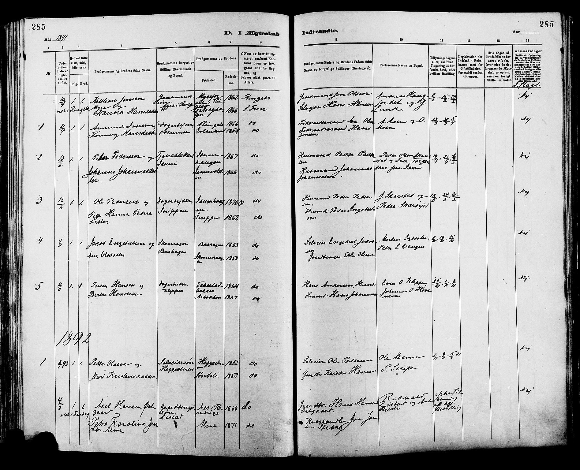 SAH, Sør-Fron prestekontor, H/Ha/Haa/L0003: Ministerialbok nr. 3, 1881-1897, s. 285