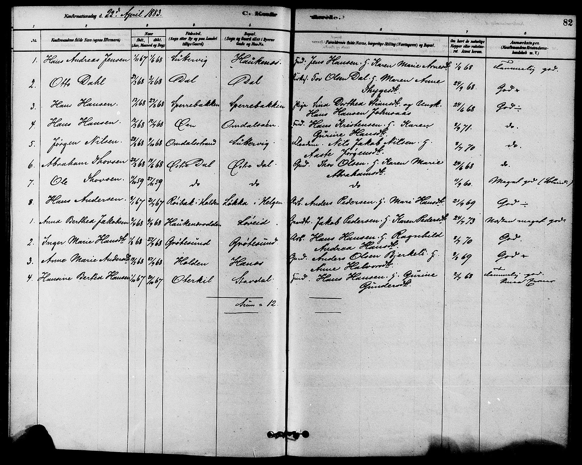SAKO, Solum kirkebøker, F/Fb/L0001: Ministerialbok nr. II 1, 1877-1892, s. 82