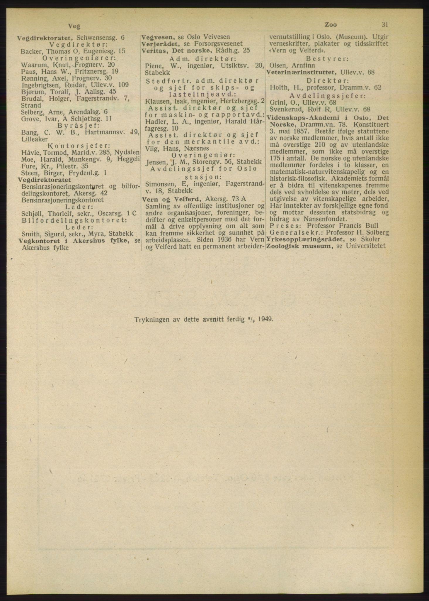 RA, Oslo adressebok (publikasjon)*, 1949, s. 31