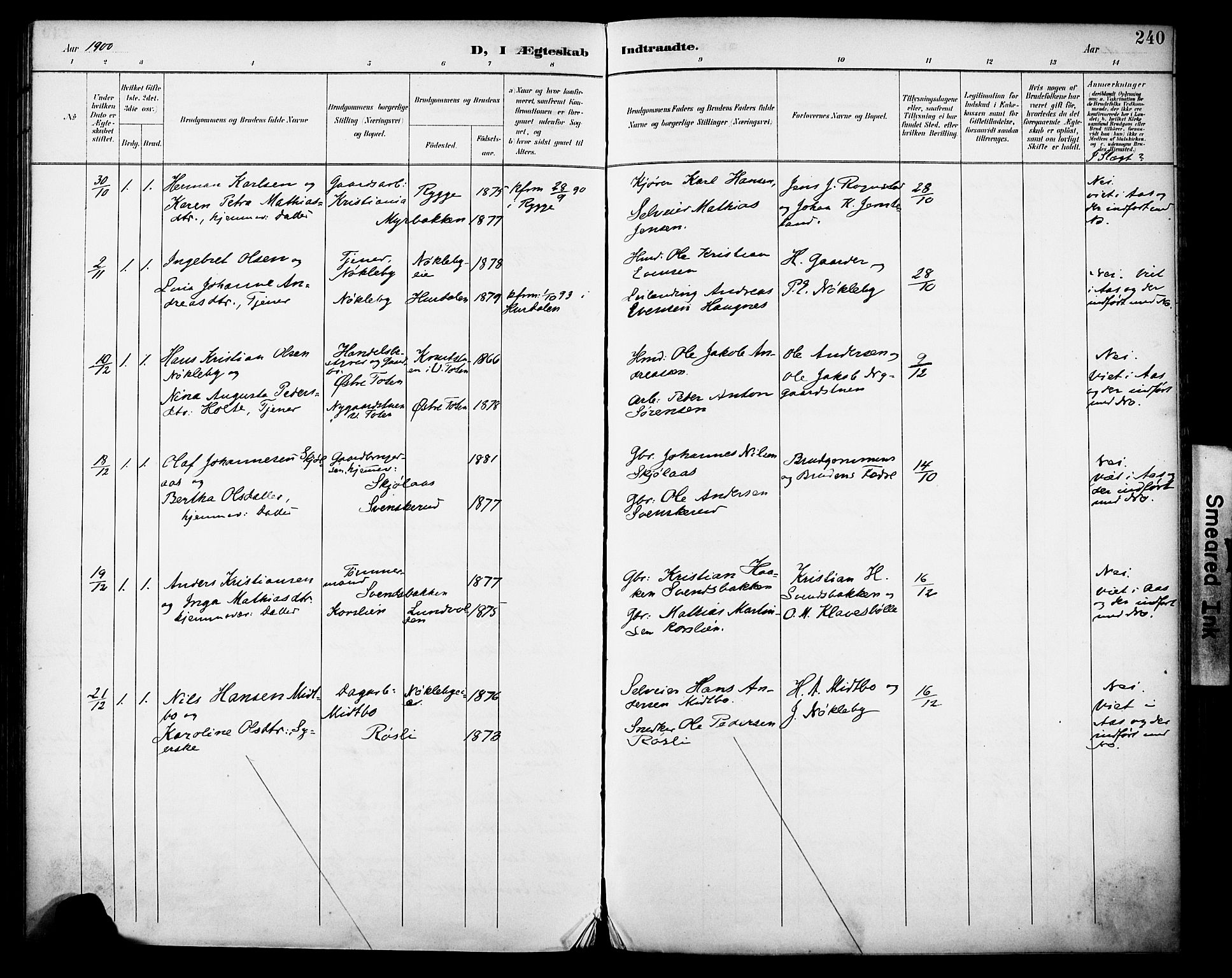 SAH, Vestre Toten prestekontor, H/Ha/Haa/L0013: Ministerialbok nr. 13, 1895-1911, s. 240