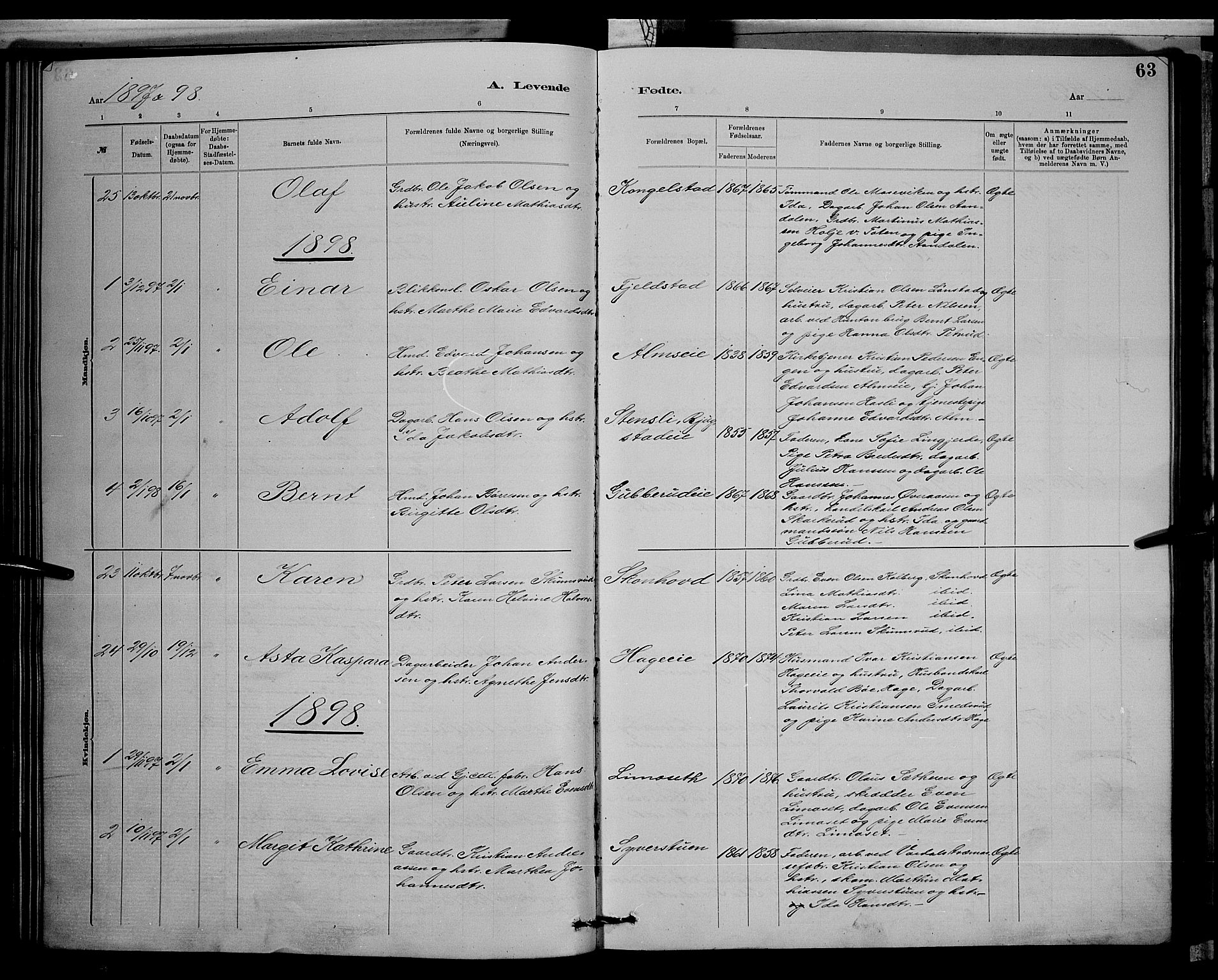 SAH, Vardal prestekontor, H/Ha/Hab/L0008: Klokkerbok nr. 8, 1881-1898, s. 63