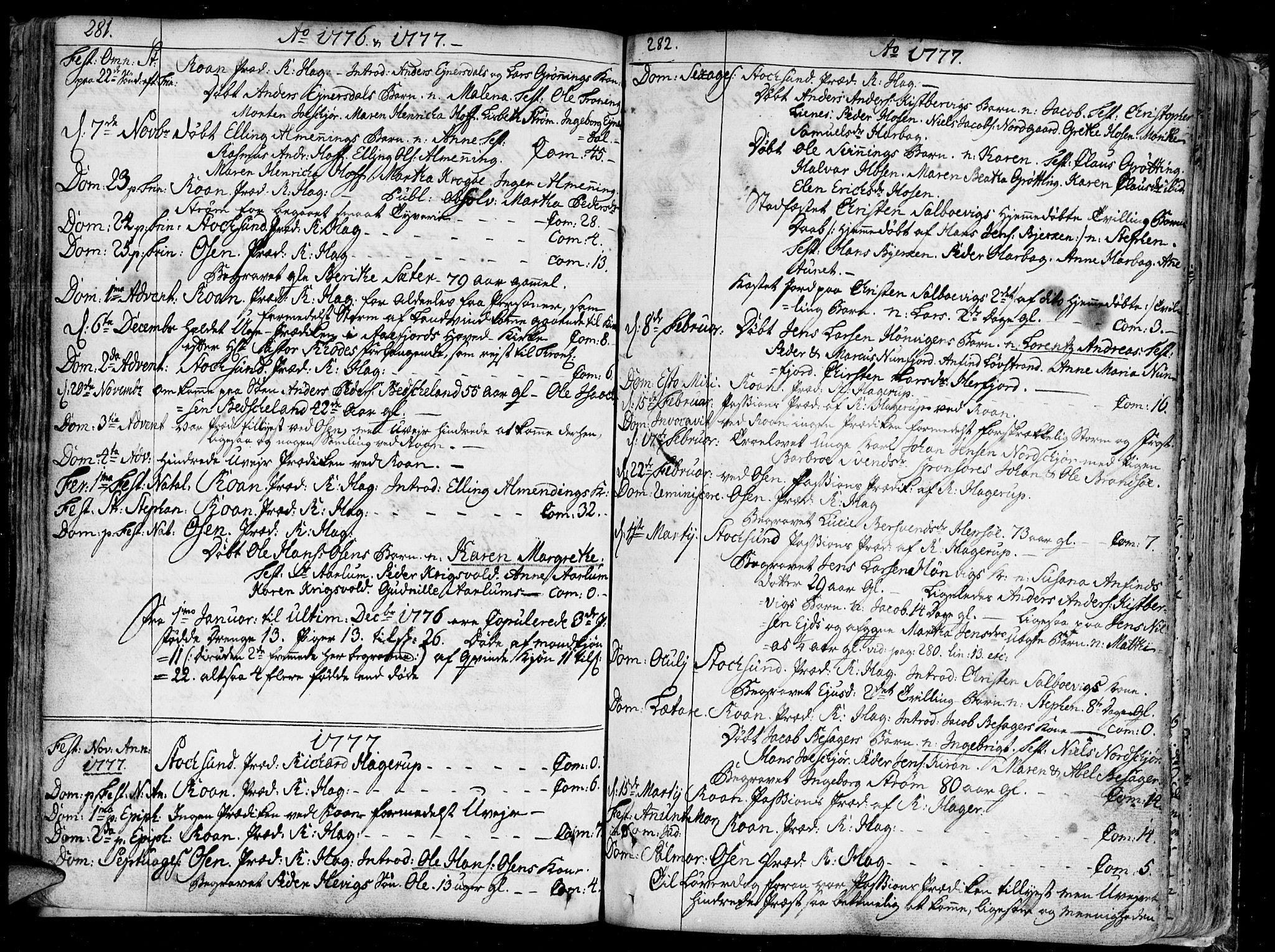 SAT, Ministerialprotokoller, klokkerbøker og fødselsregistre - Sør-Trøndelag, 657/L0700: Ministerialbok nr. 657A01, 1732-1801, s. 281-282
