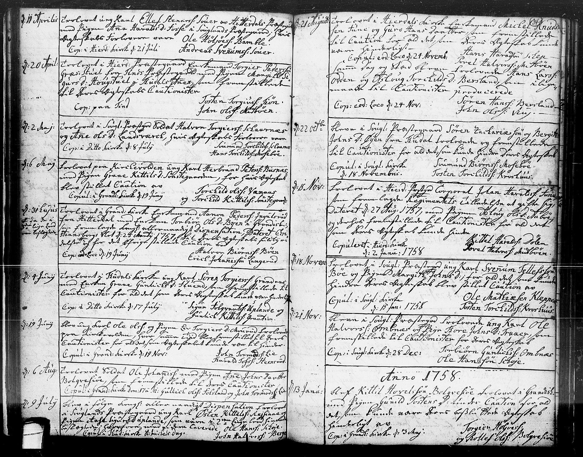 SAKO, Hjartdal kirkebøker, F/Fa/L0004: Ministerialbok nr. I 4, 1727-1795, s. 34