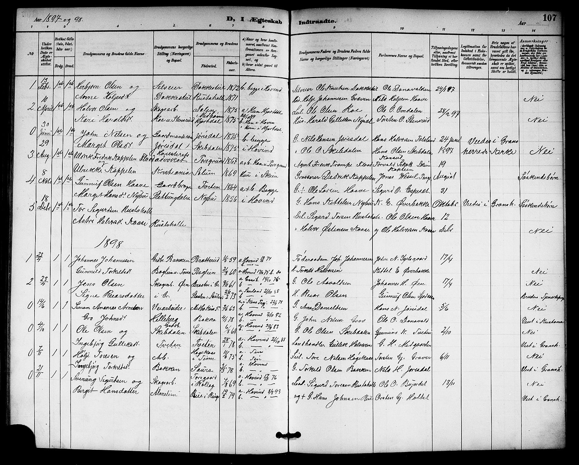 SAKO, Gransherad kirkebøker, G/Gb/L0003: Klokkerbok nr. II 3, 1887-1921, s. 107