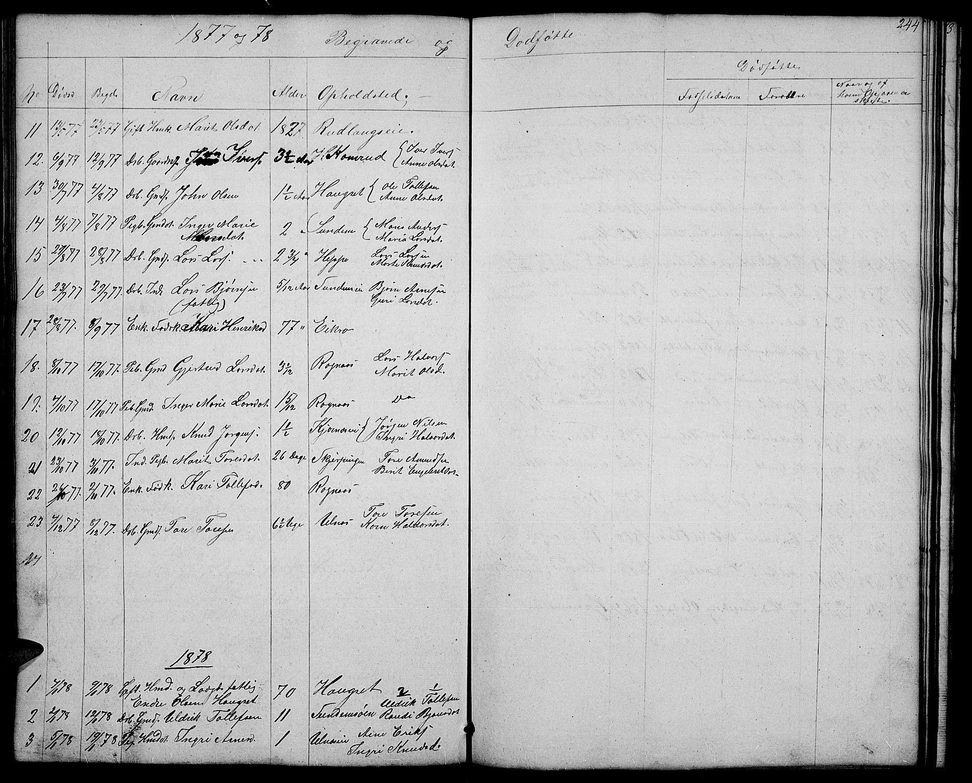 SAH, Nord-Aurdal prestekontor, Klokkerbok nr. 4, 1842-1882, s. 244