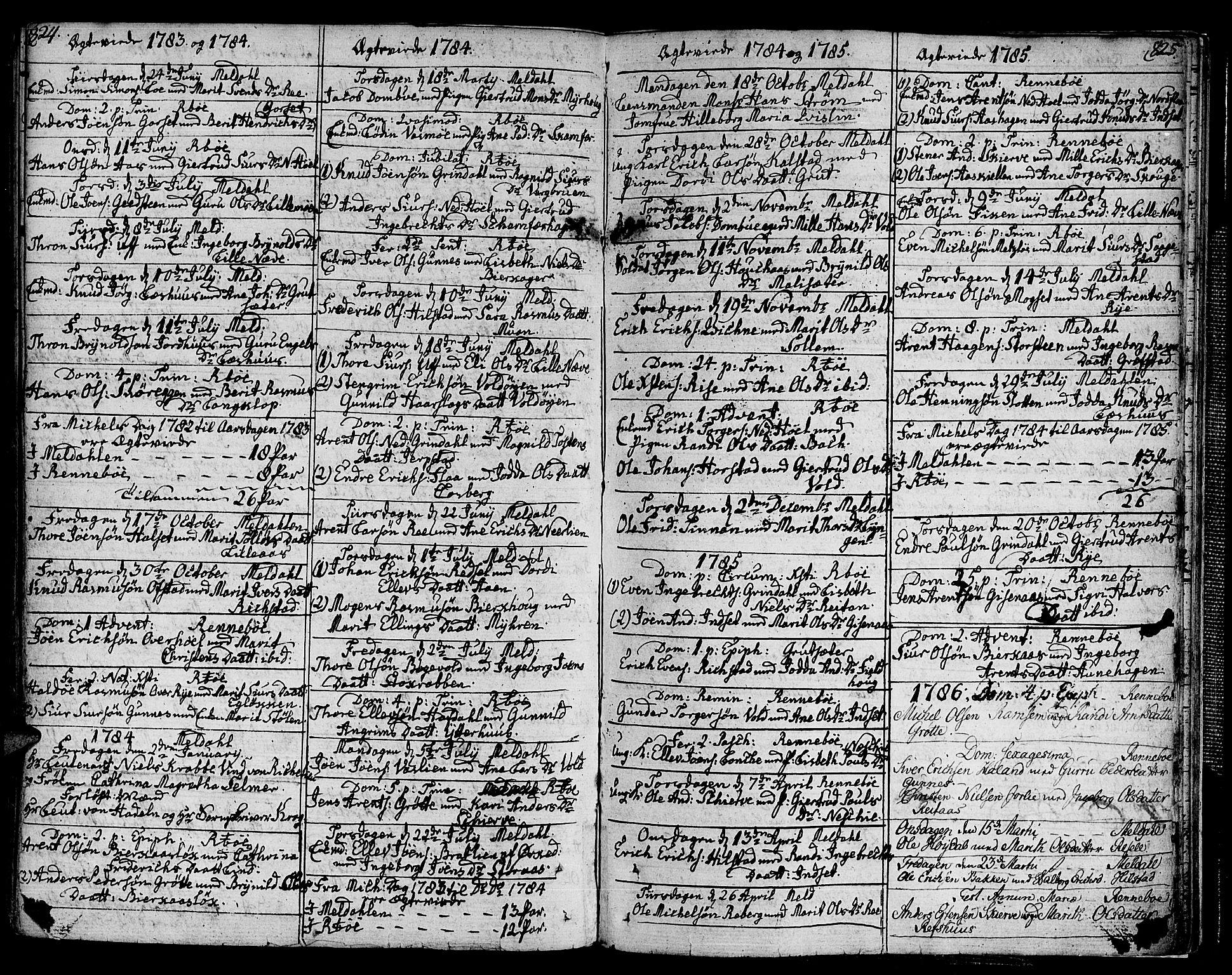 SAT, Ministerialprotokoller, klokkerbøker og fødselsregistre - Sør-Trøndelag, 672/L0852: Ministerialbok nr. 672A05, 1776-1815, s. 824-825