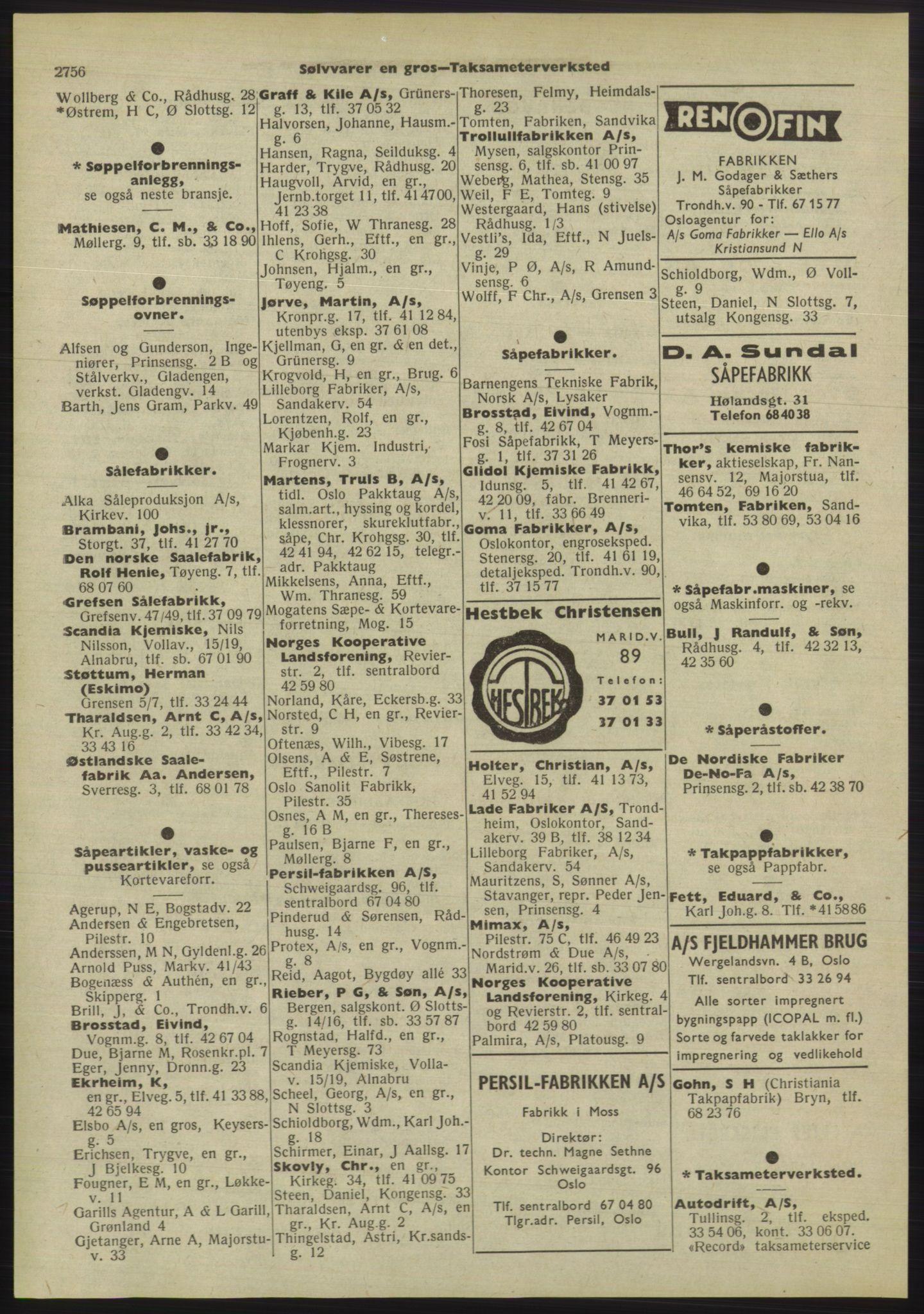 PUBL, Kristiania/Oslo adressebok, 1955, s. 2756