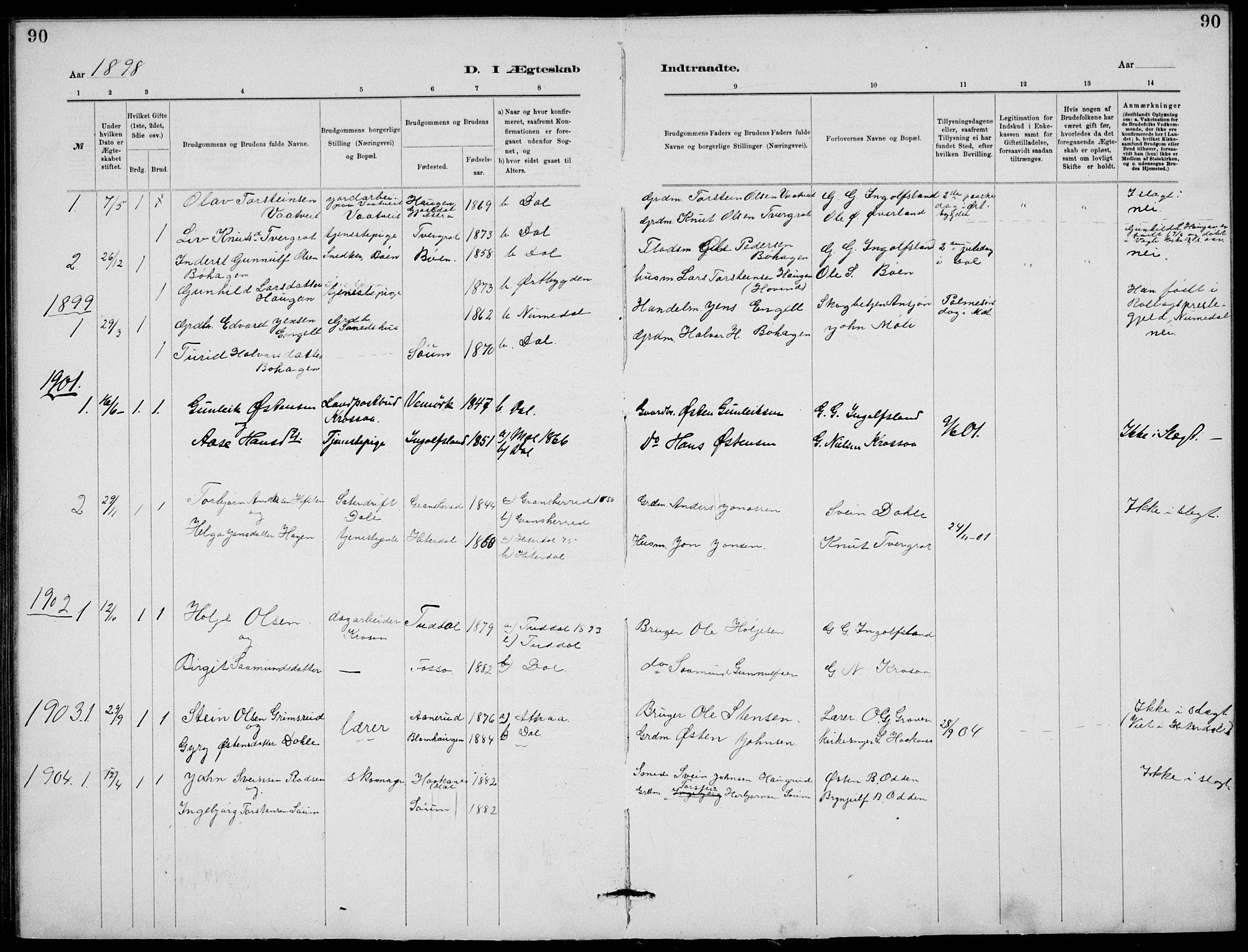 SAKO, Rjukan kirkebøker, G/Ga/L0001: Klokkerbok nr. 1, 1880-1914, s. 90