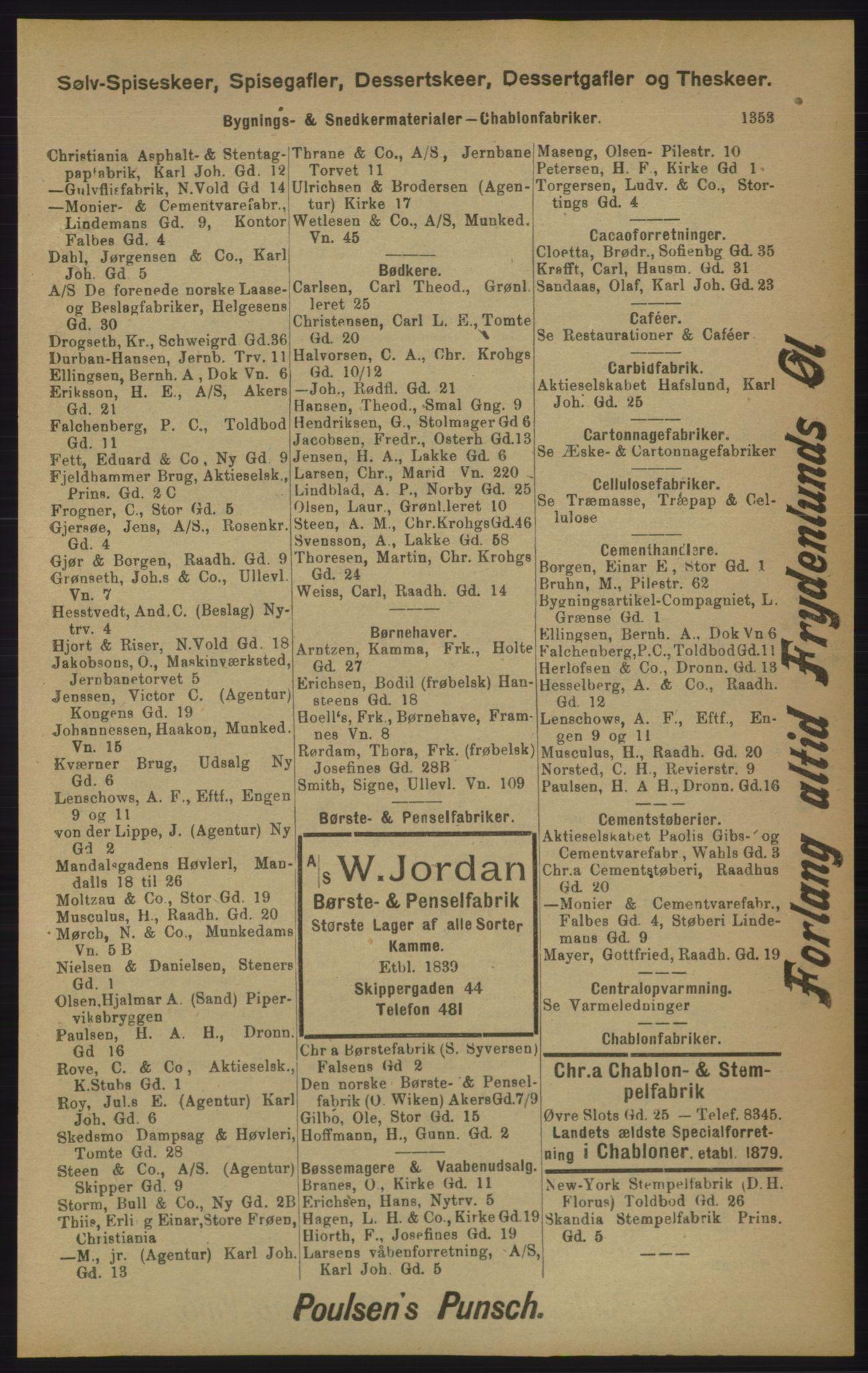 RA, Kristiania adressebok (publikasjon)*, 1905, s. 1353