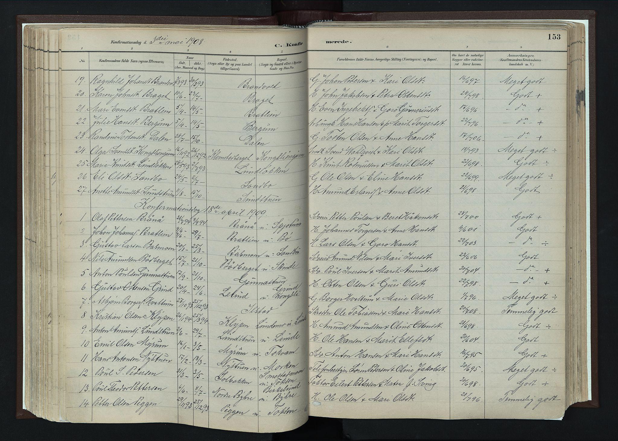 SAH, Nord-Fron prestekontor, Ministerialbok nr. 4, 1884-1914, s. 153