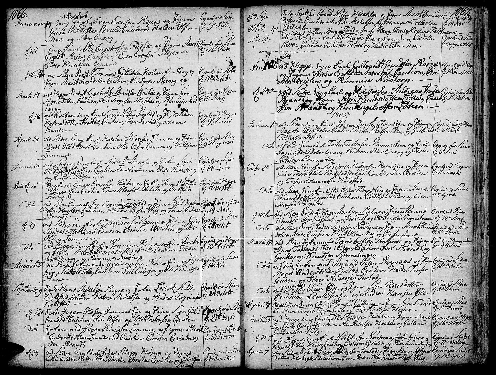 SAH, Slidre prestekontor, Ministerialbok nr. 1, 1724-1814, s. 1066-1067