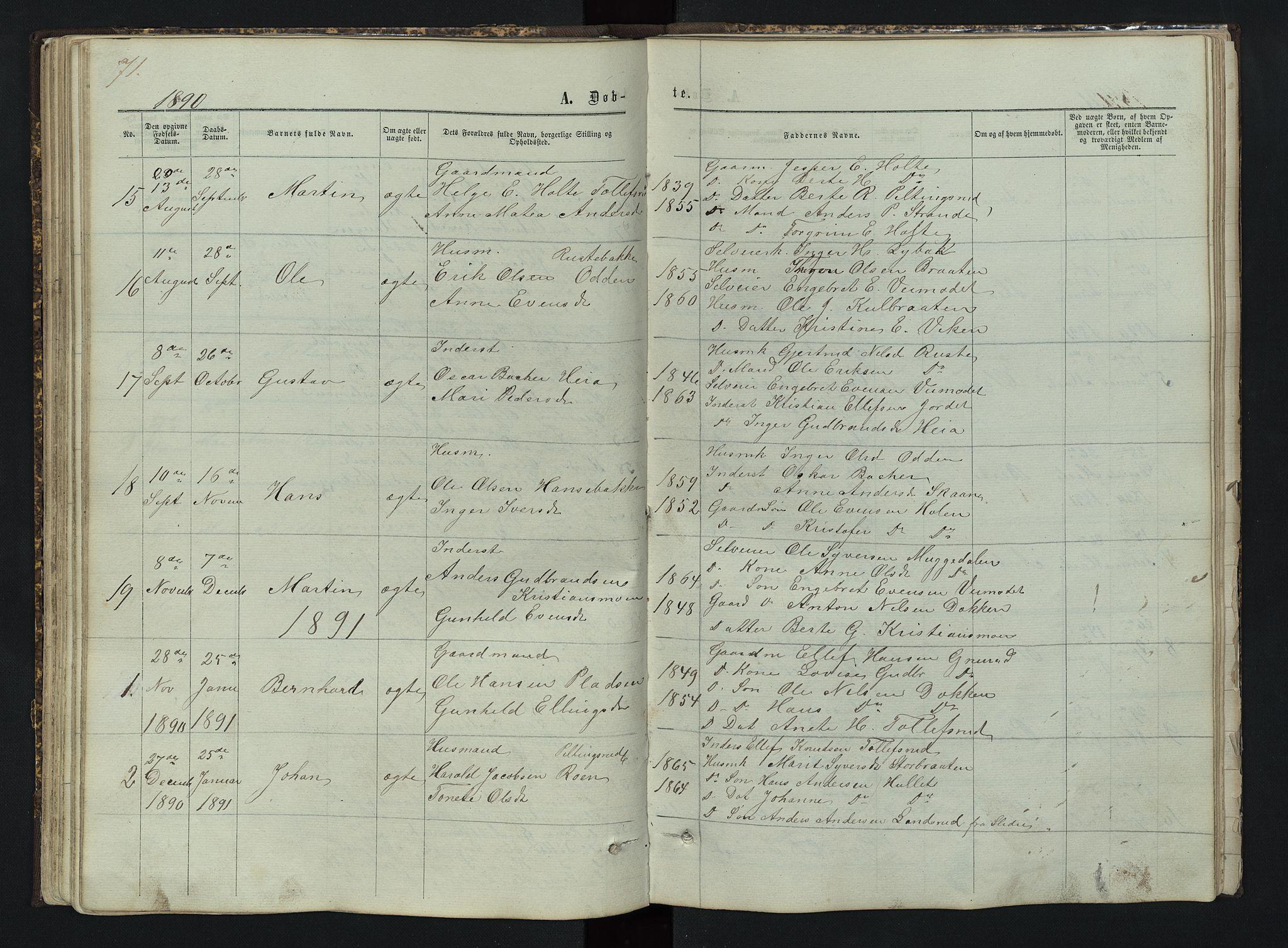 SAH, Sør-Aurdal prestekontor, Klokkerbok nr. 3, 1862-1893, s. 71