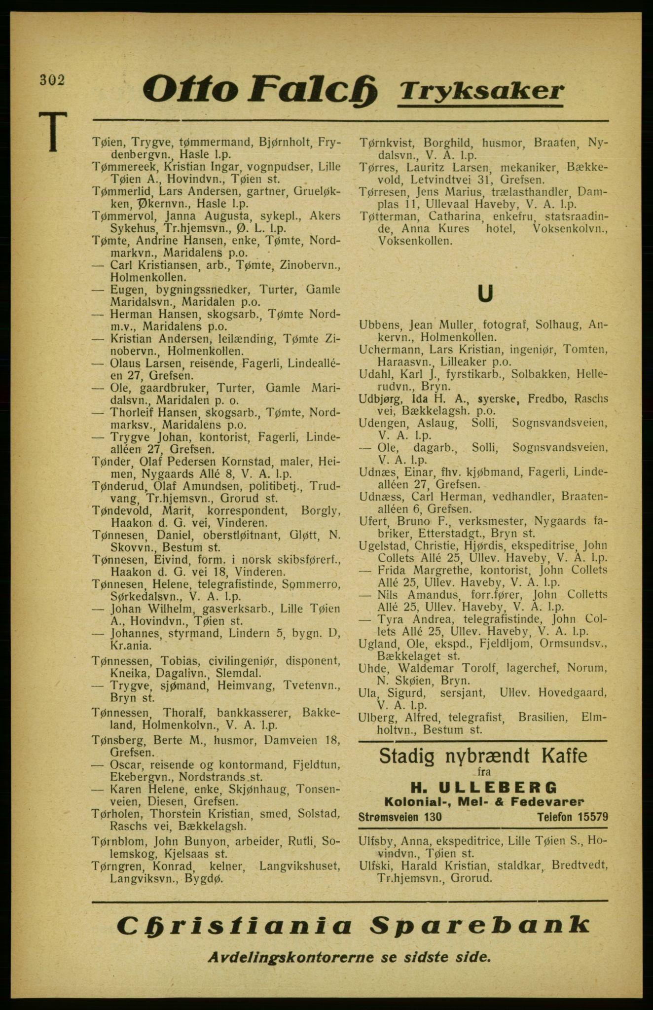 RA, Aker adressebok/adressekalender (publikasjon)*, 1922, s. 302