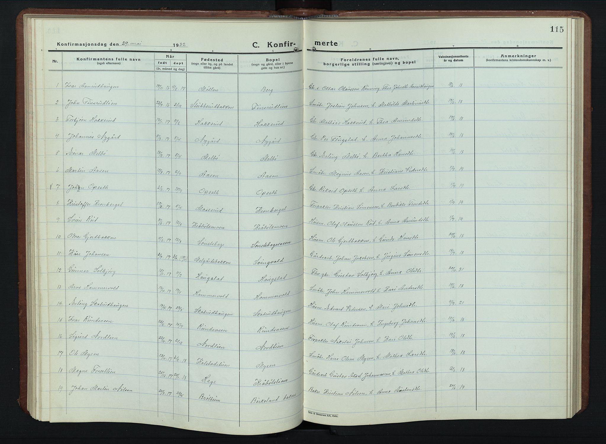 SAH, Vestre Gausdal prestekontor, Klokkerbok nr. 5, 1926-1955, s. 115