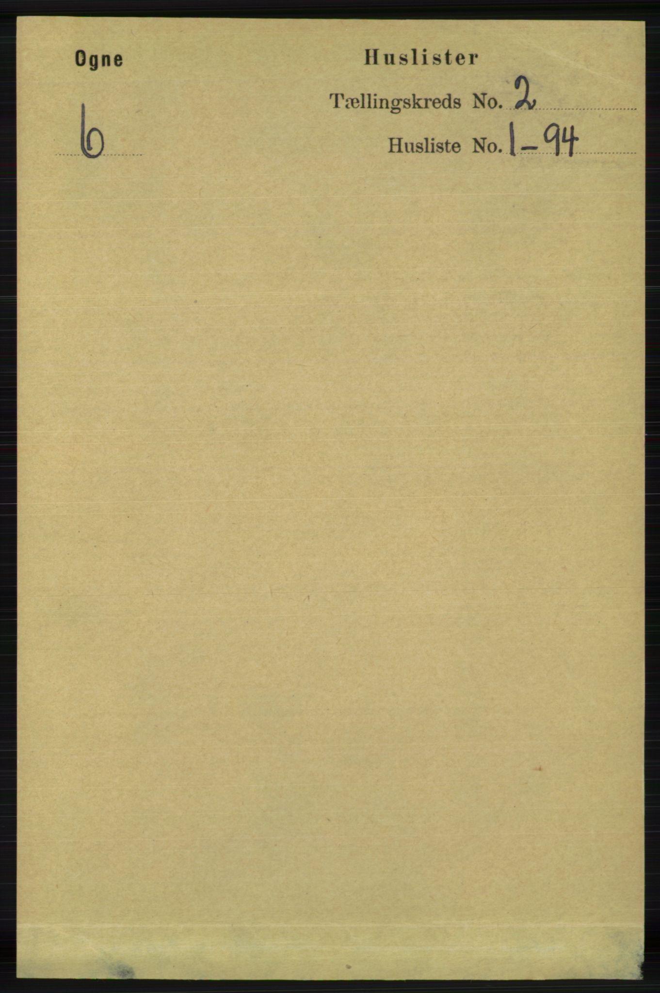 RA, Folketelling 1891 for 1117 Ogna herred, 1891, s. 669