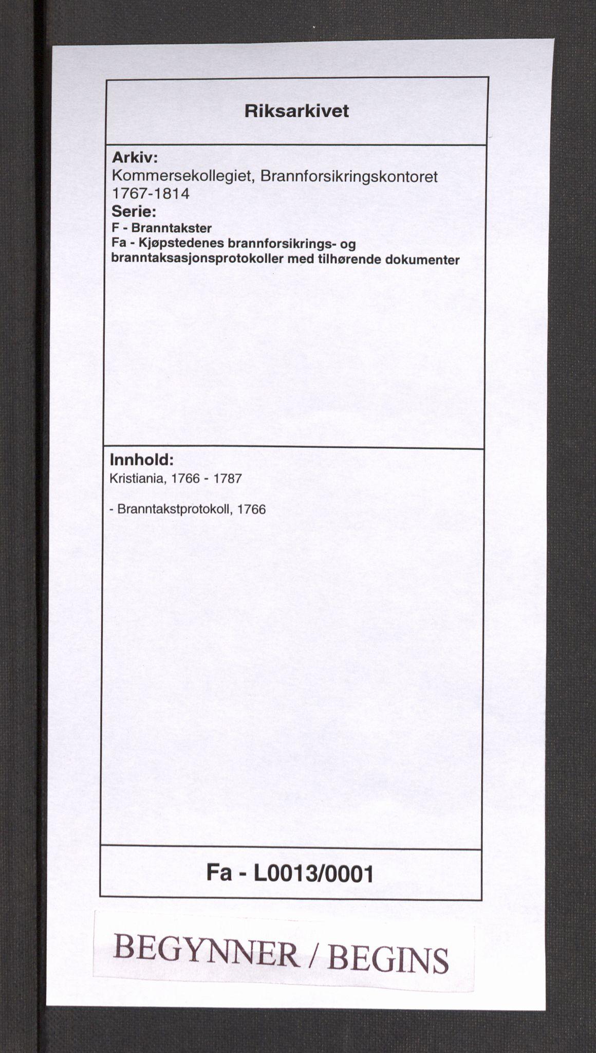 RA, Kommersekollegiet, Brannforsikringskontoret 1767-1814, F/Fa/L0013: Kristiania, 1766