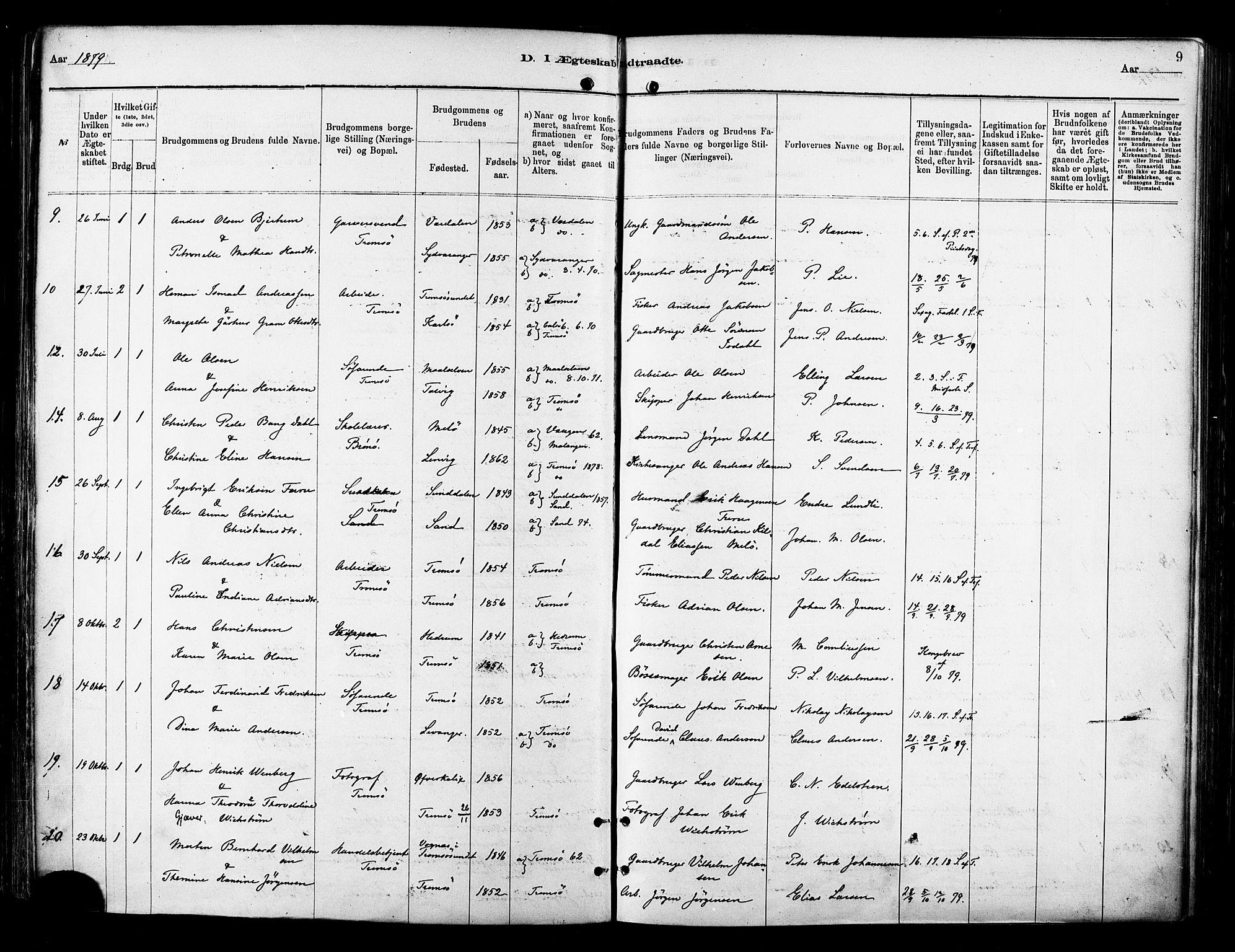 SATØ, Tromsø sokneprestkontor/stiftsprosti/domprosti, G/Ga/L0014kirke: Ministerialbok nr. 14, 1878-1888, s. 9