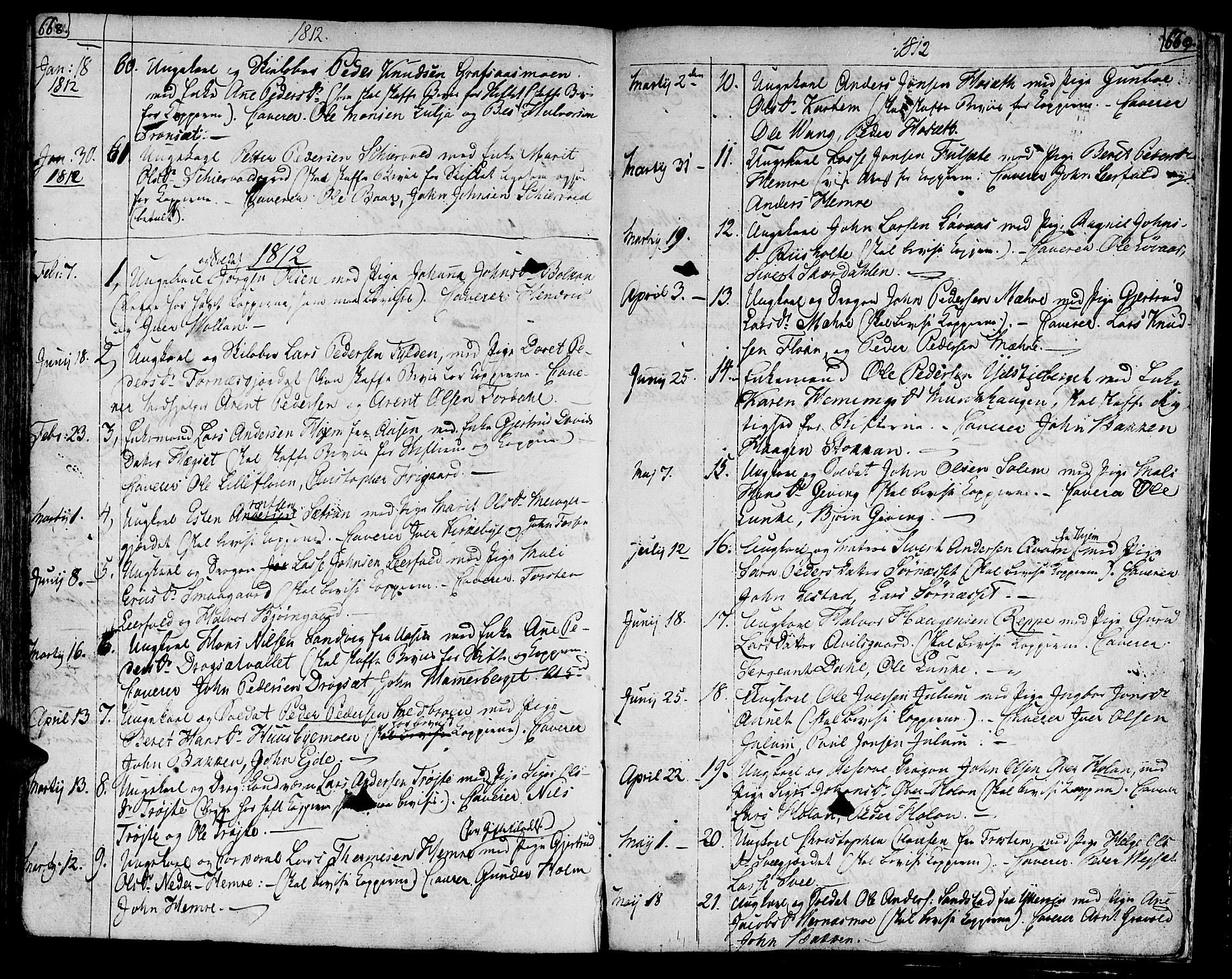 SAT, Ministerialprotokoller, klokkerbøker og fødselsregistre - Nord-Trøndelag, 709/L0060: Ministerialbok nr. 709A07, 1797-1815, s. 668-669
