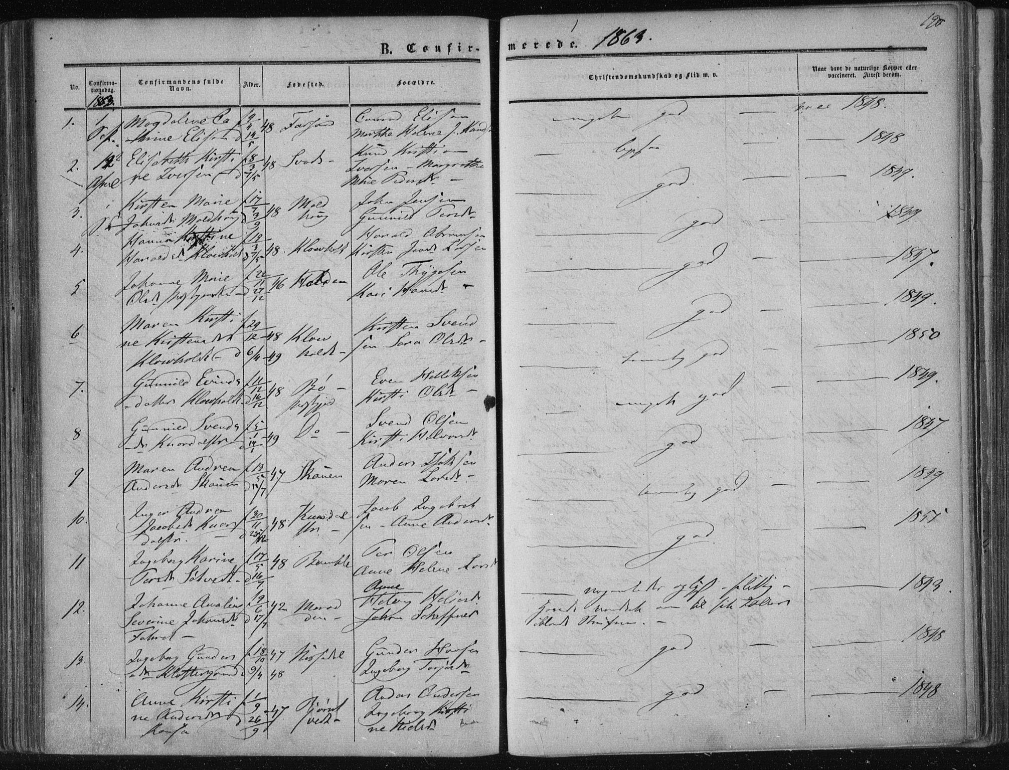 SAKO, Solum kirkebøker, F/Fa/L0007: Ministerialbok nr. I 7, 1856-1864, s. 190